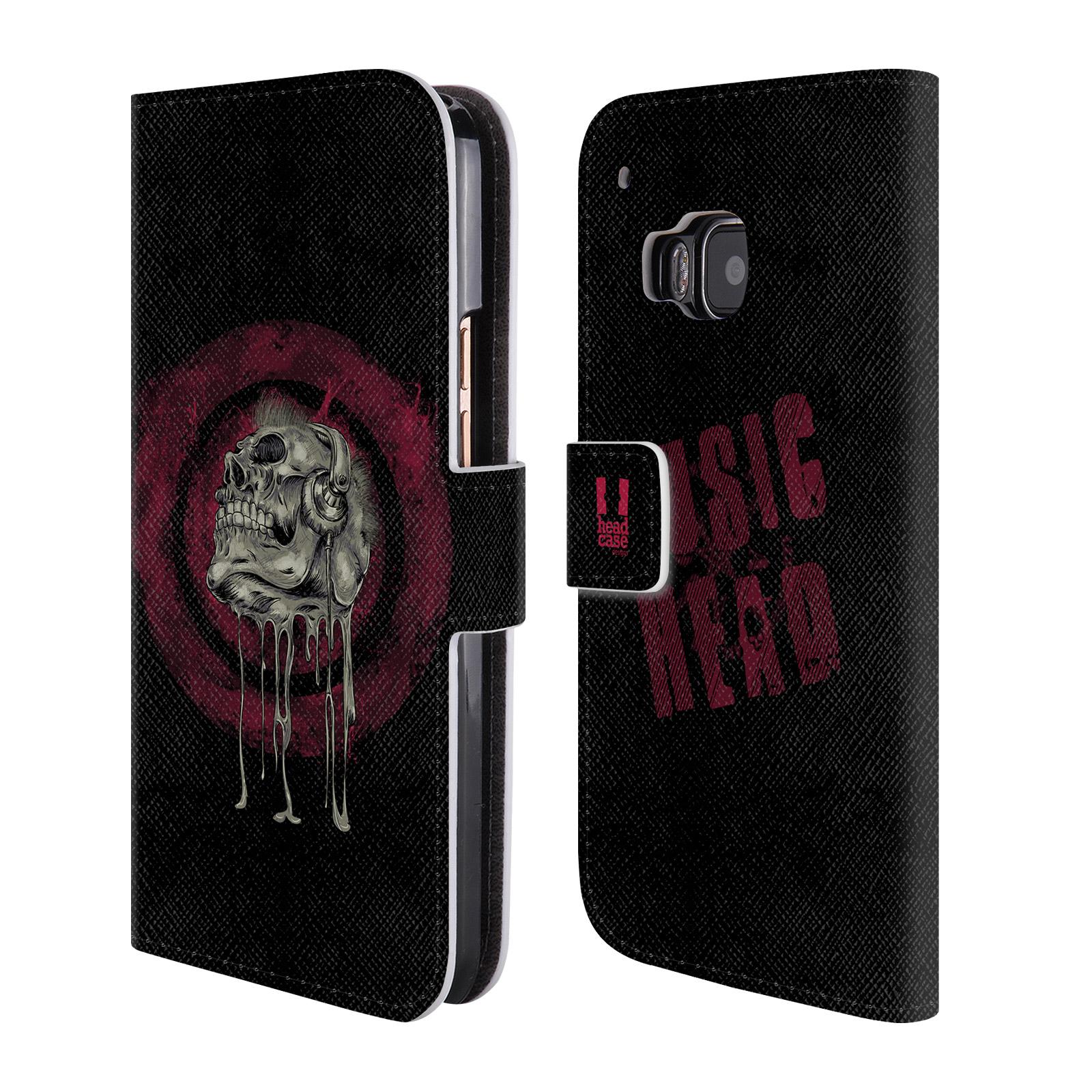 Flipové pouzdro na mobil HTC One M9 HEAD CASE Rocková lebka (Flipový vyklápěcí kryt či obal z umělé kůže na mobilní telefon HTC One M9)