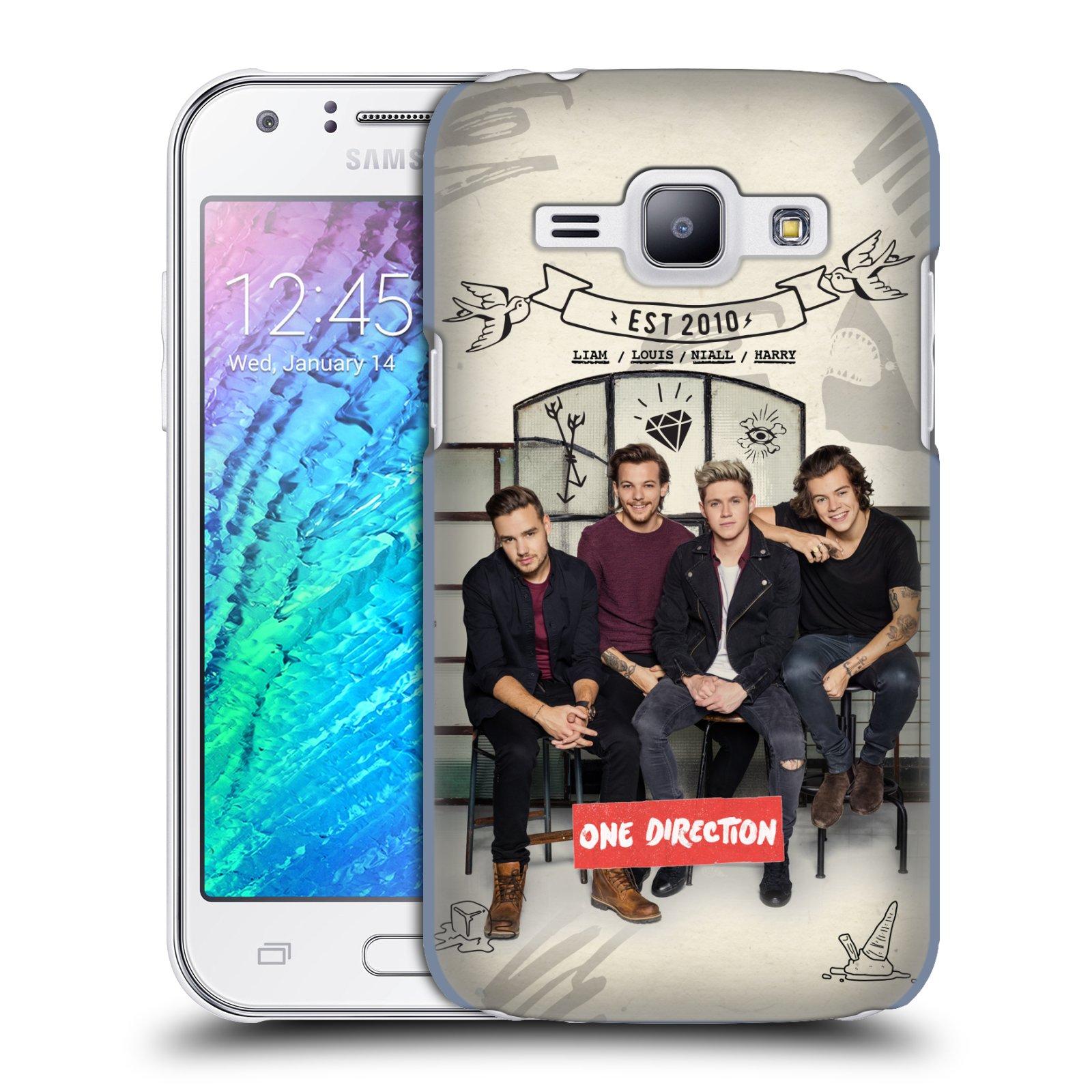 Plastové pouzdro na mobil Samsung Galaxy J1 HEAD CASE One Direction - EST 2010 (Kryt či obal One Direction Official na mobilní telefon Samsung Galaxy J1 a J1 Duos )