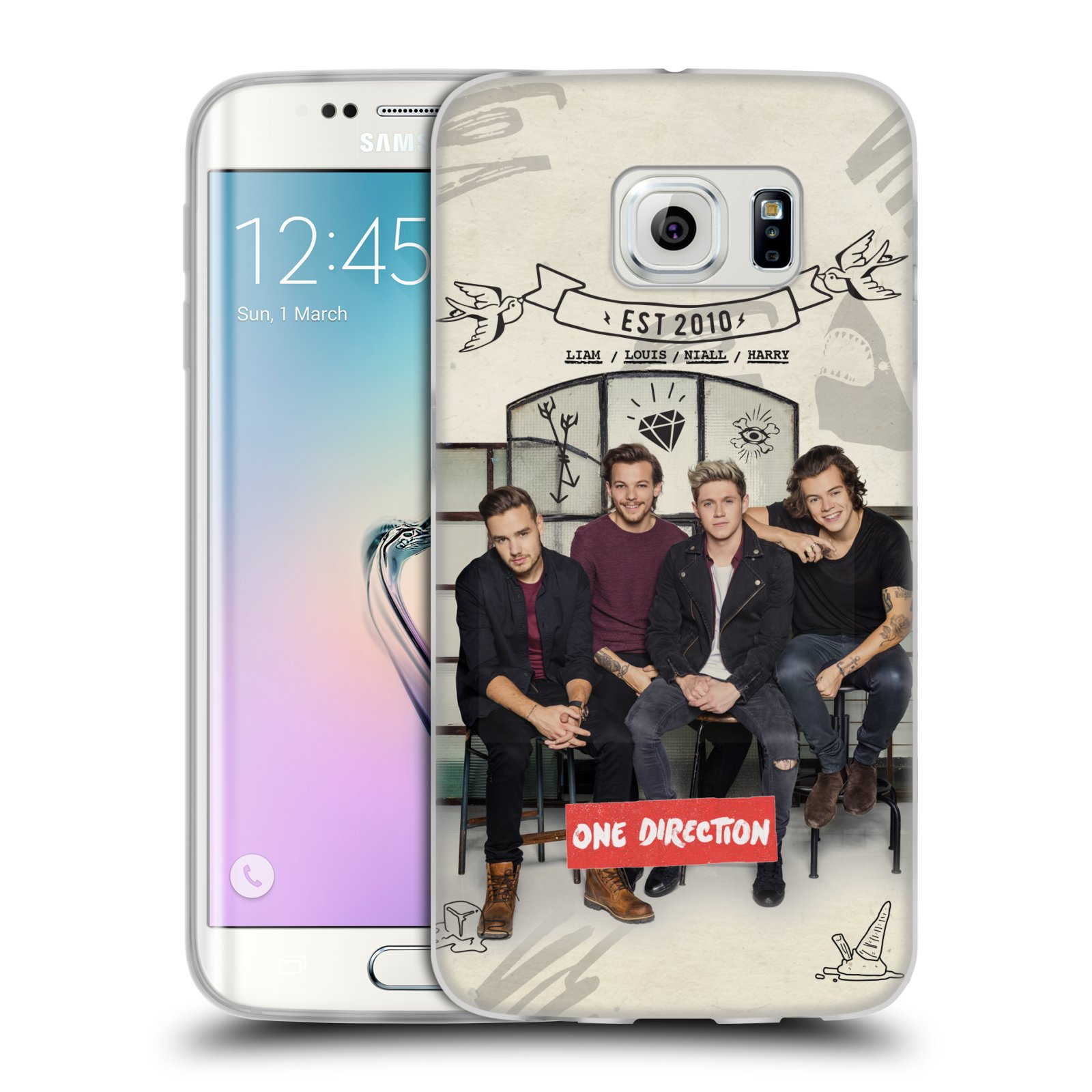 Silikonové pouzdro na mobil Samsung Galaxy S6 Edge HEAD CASE One Direction - EST 2010 (Silikonový kryt či obal One Direction Official na mobilní telefon Samsung Galaxy S6 Edge SM-G925F)