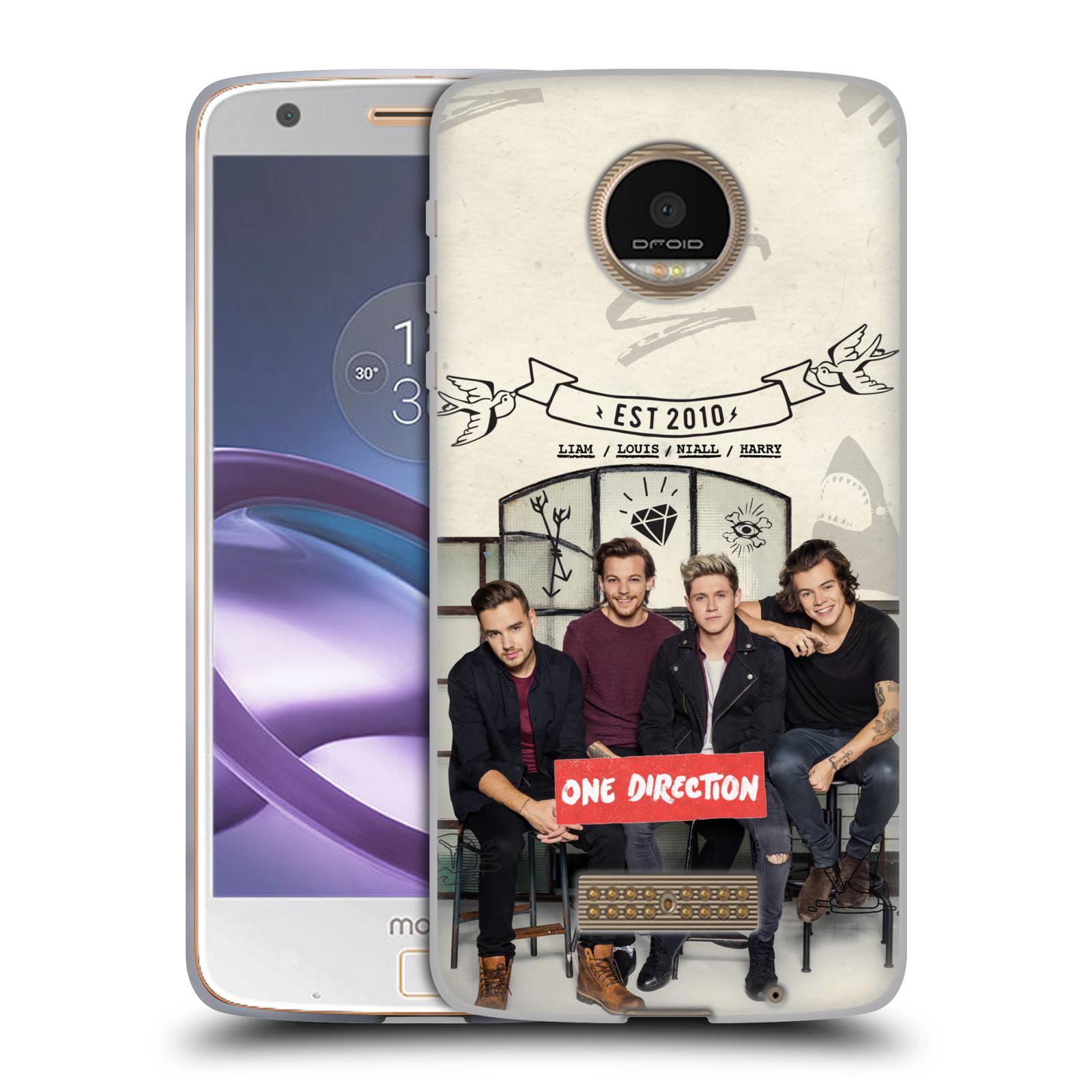 Silikonové pouzdro na mobil Lenovo Moto Z HEAD CASE One Direction - EST 2010 (Silikonový kryt či obal One Direction Official na mobilní telefon Lenovo Moto Z)