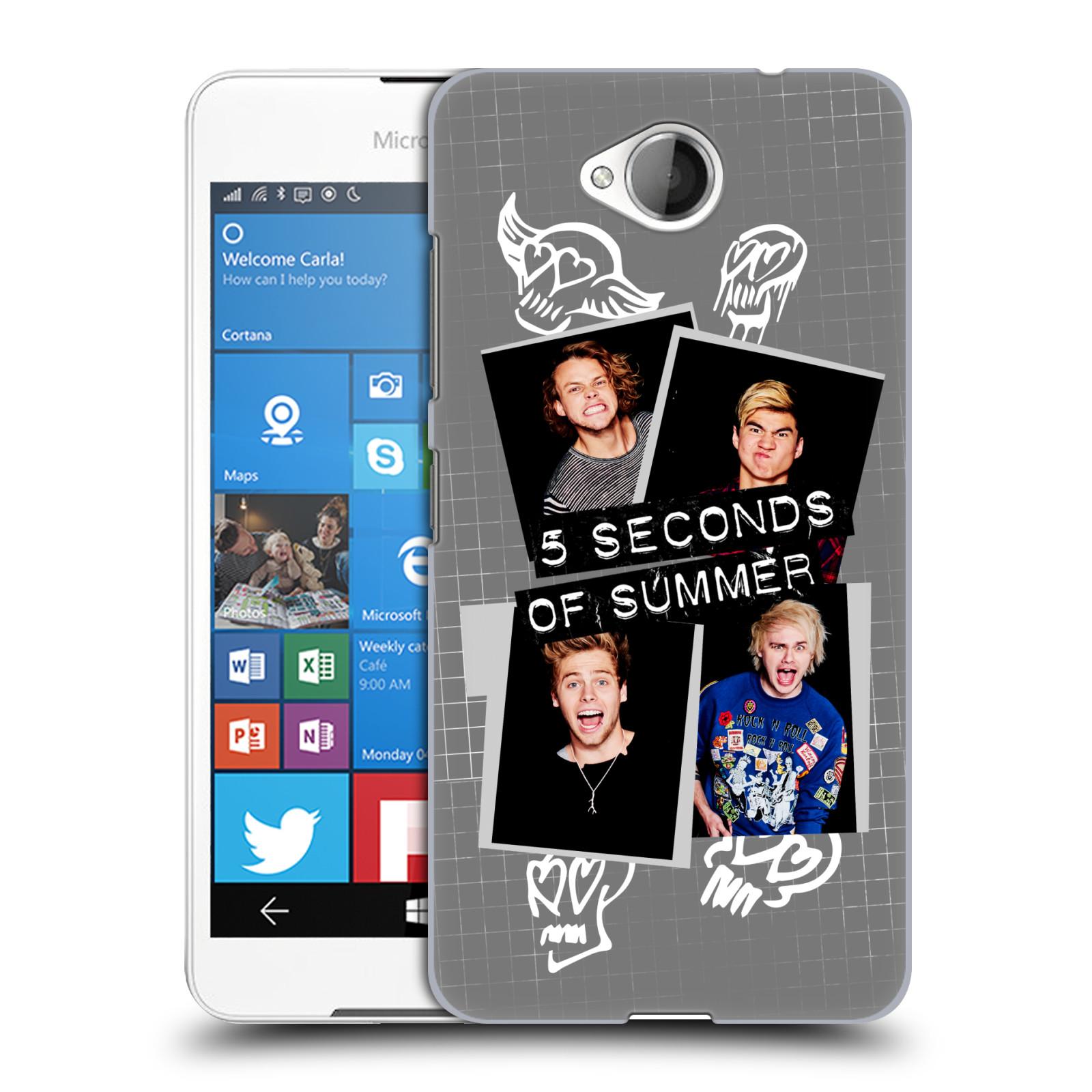 Plastové pouzdro na mobil Microsoft Lumia 650 HEAD CASE 5 Seconds of Summer - Band Grey (Plastový kryt či obal na mobilní telefon licencovaným motivem 5 Seconds of Summer pro Microsoft Lumia 650)