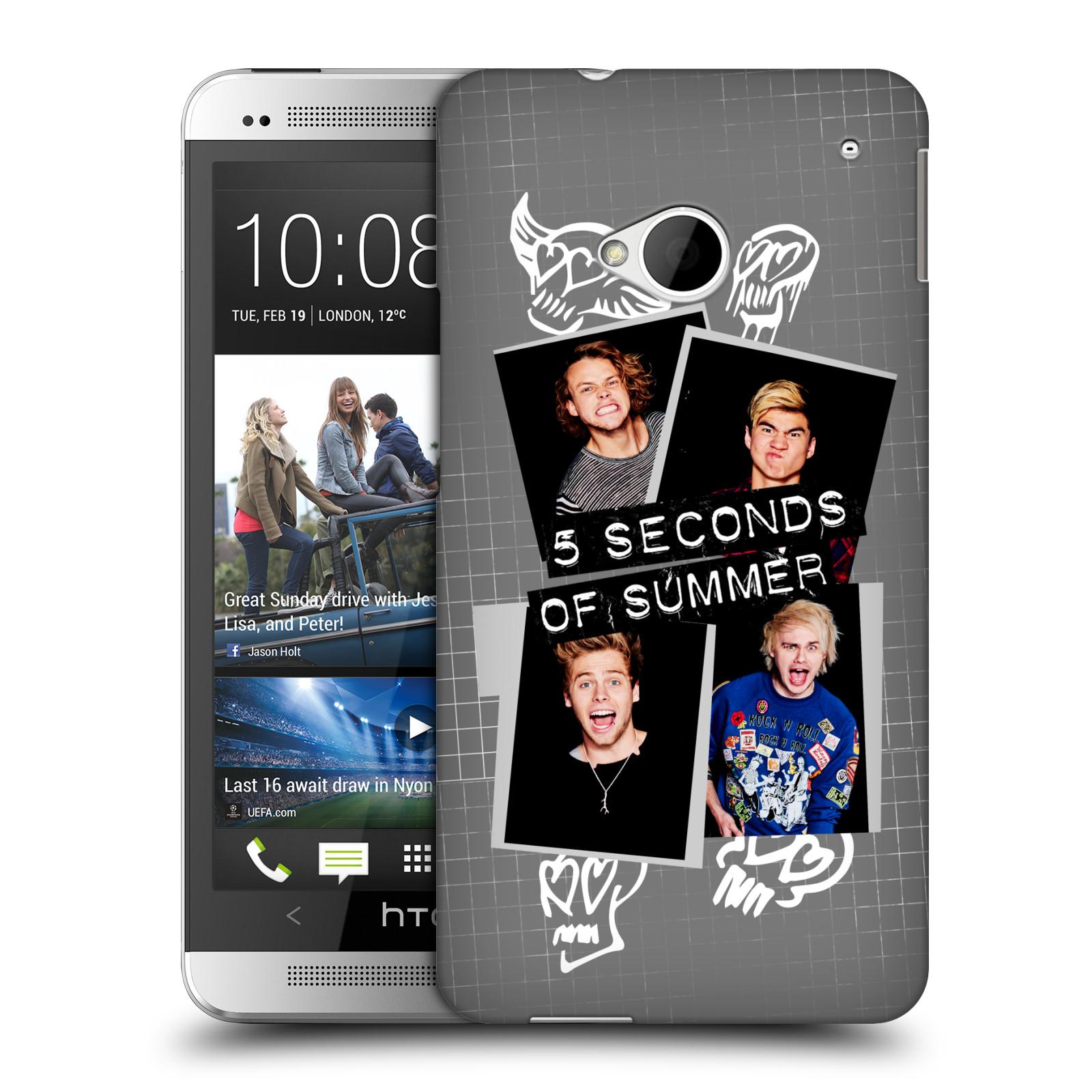 Plastové pouzdro na mobil HTC ONE M7 HEAD CASE 5 Seconds of Summer - Band Grey (Plastový kryt či obal na mobilní telefon licencovaným motivem 5 Seconds of Summer pro HTC ONE M7)
