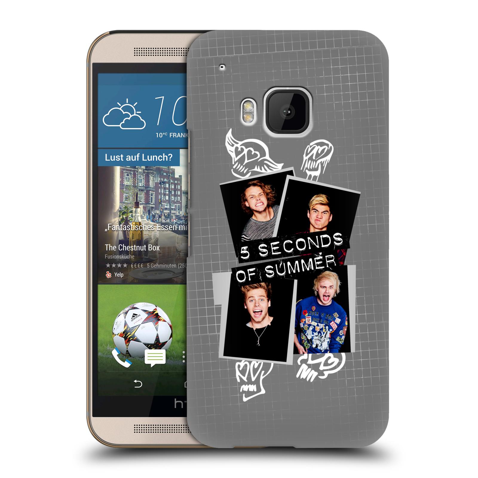 Plastové pouzdro na mobil HTC ONE M9 HEAD CASE 5 Seconds of Summer - Band Grey (Plastový kryt či obal na mobilní telefon licencovaným motivem 5 Seconds of Summer pro HTC ONE M9)