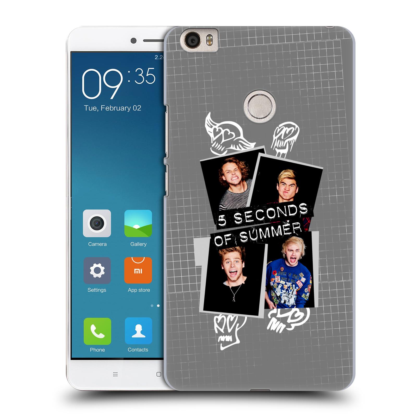 Plastové pouzdro na mobil Xiaomi Mi Max HEAD CASE 5 Seconds of Summer - Band Grey (Plastový kryt či obal na mobilní telefon licencovaným motivem 5 Seconds of Summer pro Xiaomi Mi Max)