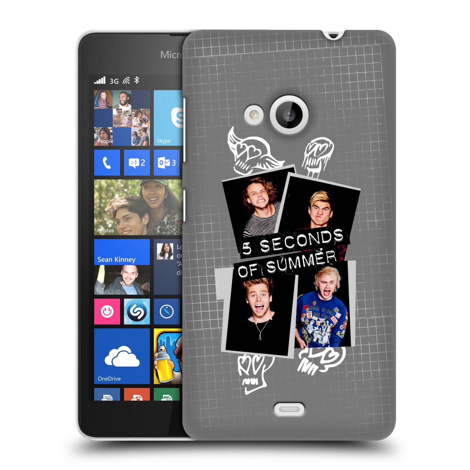 Plastové pouzdro na mobil Microsoft Lumia 535 HEAD CASE 5 Seconds of Summer - Band Grey (Plastový kryt či obal na mobilní telefon licencovaným motivem 5 Seconds of Summer pro Microsoft Lumia 535)