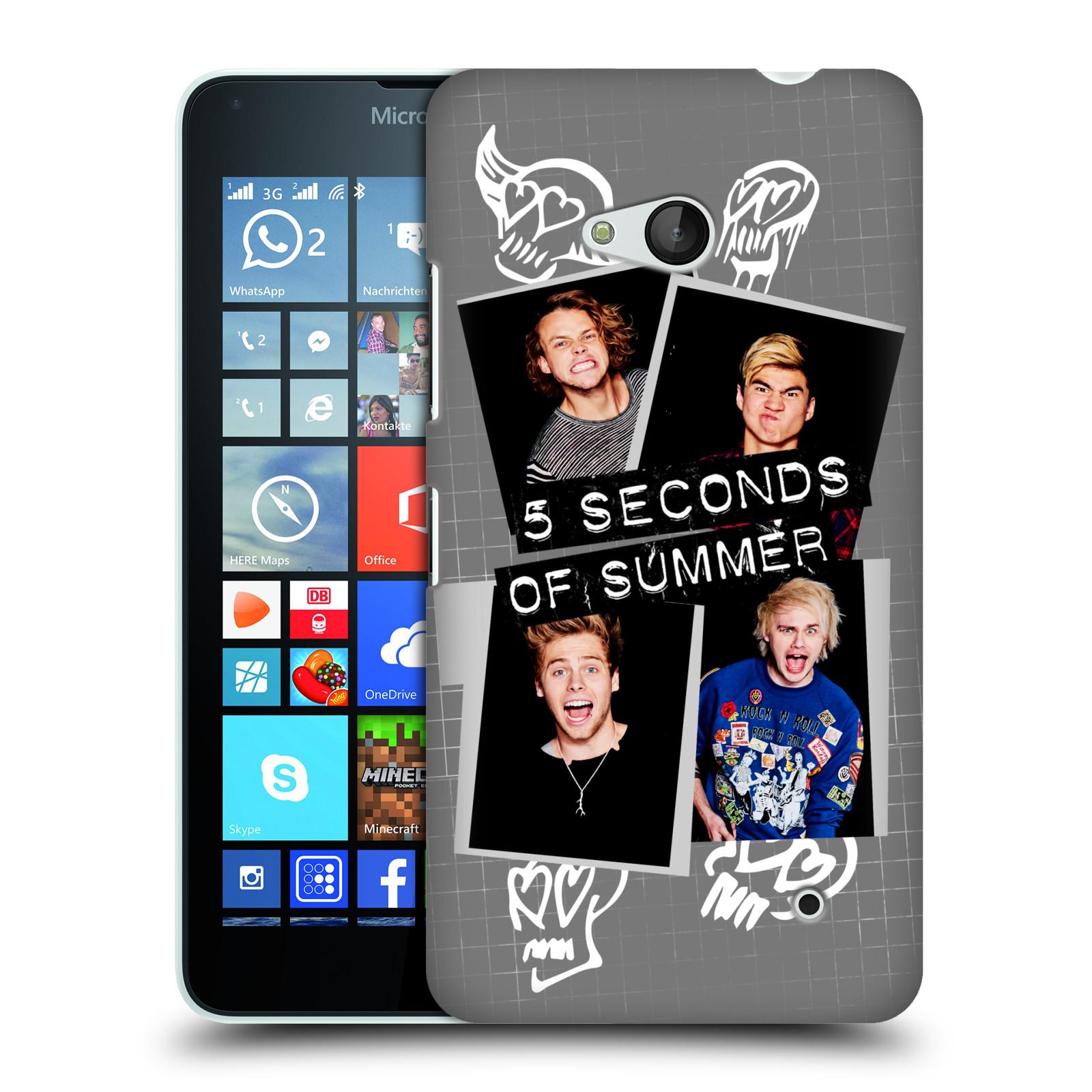 Plastové pouzdro na mobil Microsoft Lumia 640 HEAD CASE 5 Seconds of Summer - Band Grey (Plastový kryt či obal na mobilní telefon licencovaným motivem 5 Seconds of Summer pro Microsoft Lumia 640)