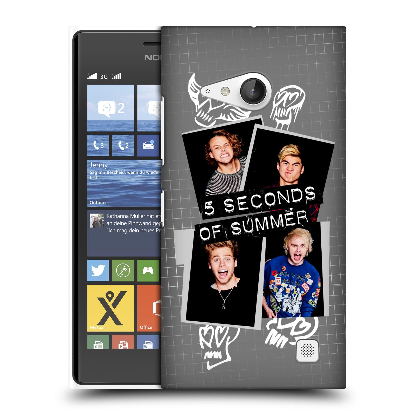 Plastové pouzdro na mobil Nokia Lumia 730 Dual SIM HEAD CASE 5 Seconds of Summer - Band Grey (Plastový kryt či obal na mobilní telefon licencovaným motivem 5 Seconds of Summer pro Nokia Lumia 730 Dual SIM)