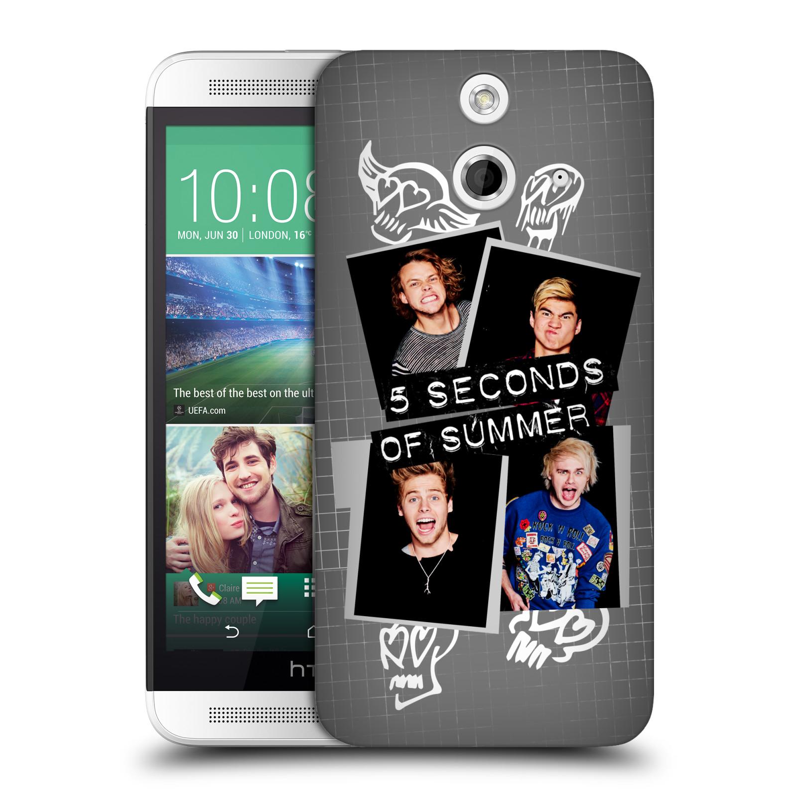 Plastové pouzdro na mobil HTC ONE E8 HEAD CASE 5 Seconds of Summer - Band Grey (Plastový kryt či obal na mobilní telefon licencovaným motivem 5 Seconds of Summer pro HTC ONE E8)