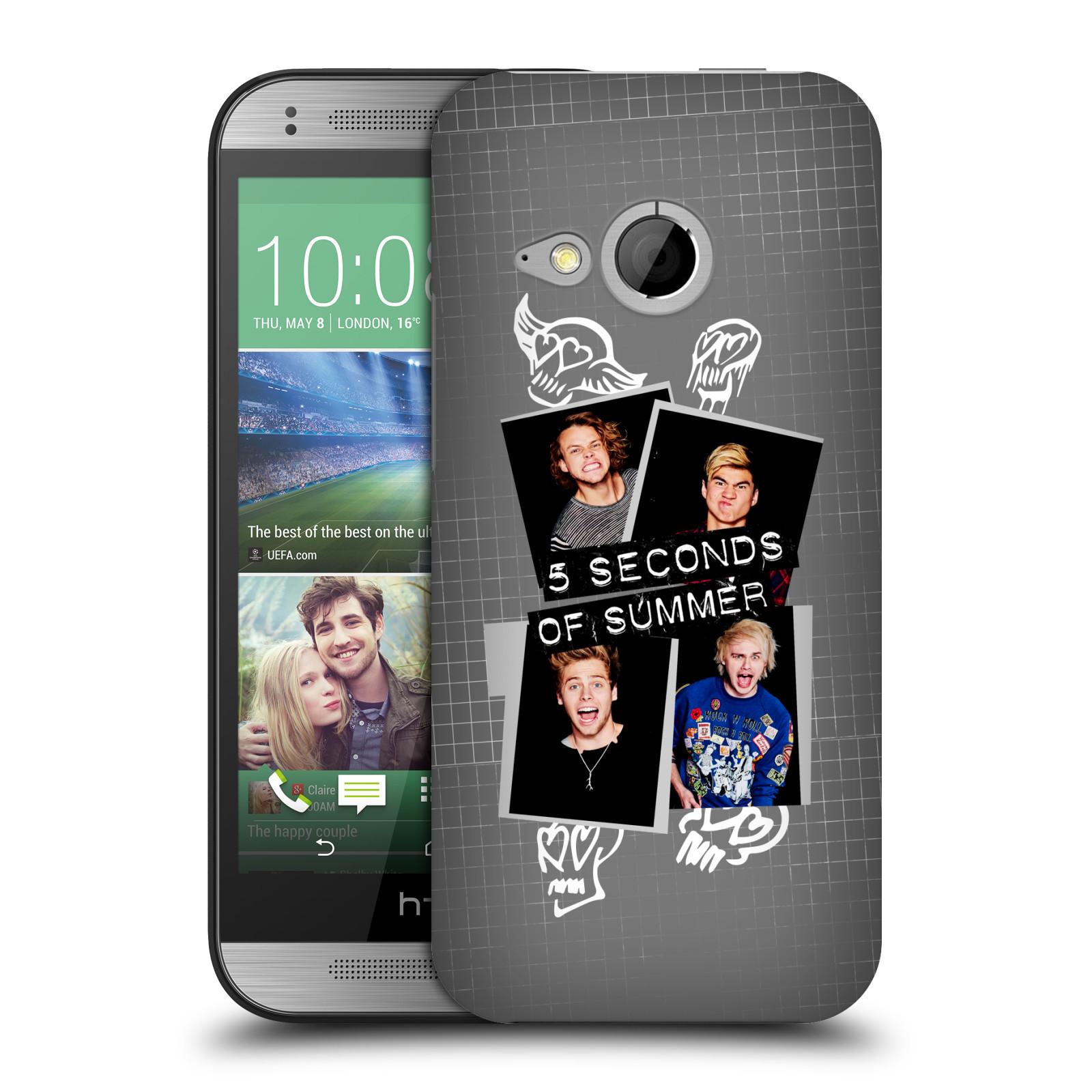 Plastové pouzdro na mobil HTC ONE Mini 2 HEAD CASE 5 Seconds of Summer - Band Grey (Plastový kryt či obal na mobilní telefon licencovaným motivem 5 Seconds of Summer pro HTC ONE Mini 2)