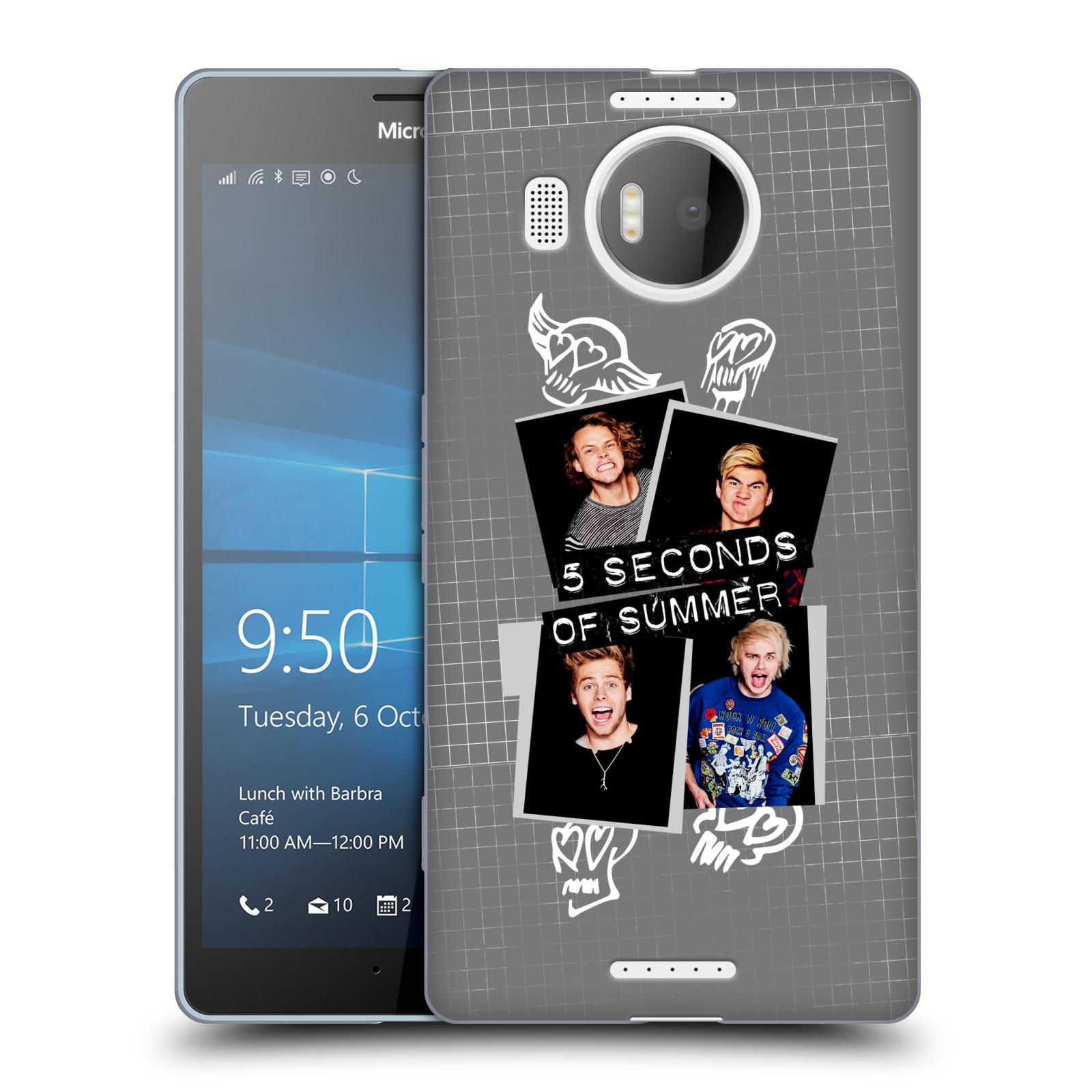 Silikonové pouzdro na mobil Microsoft Lumia 950 XL HEAD CASE 5 Seconds of Summer - Band Grey (Silikonový kryt či obal na mobilní telefon licencovaným motivem 5 Seconds of Summer pro Microsoft Lumia 950 XL)