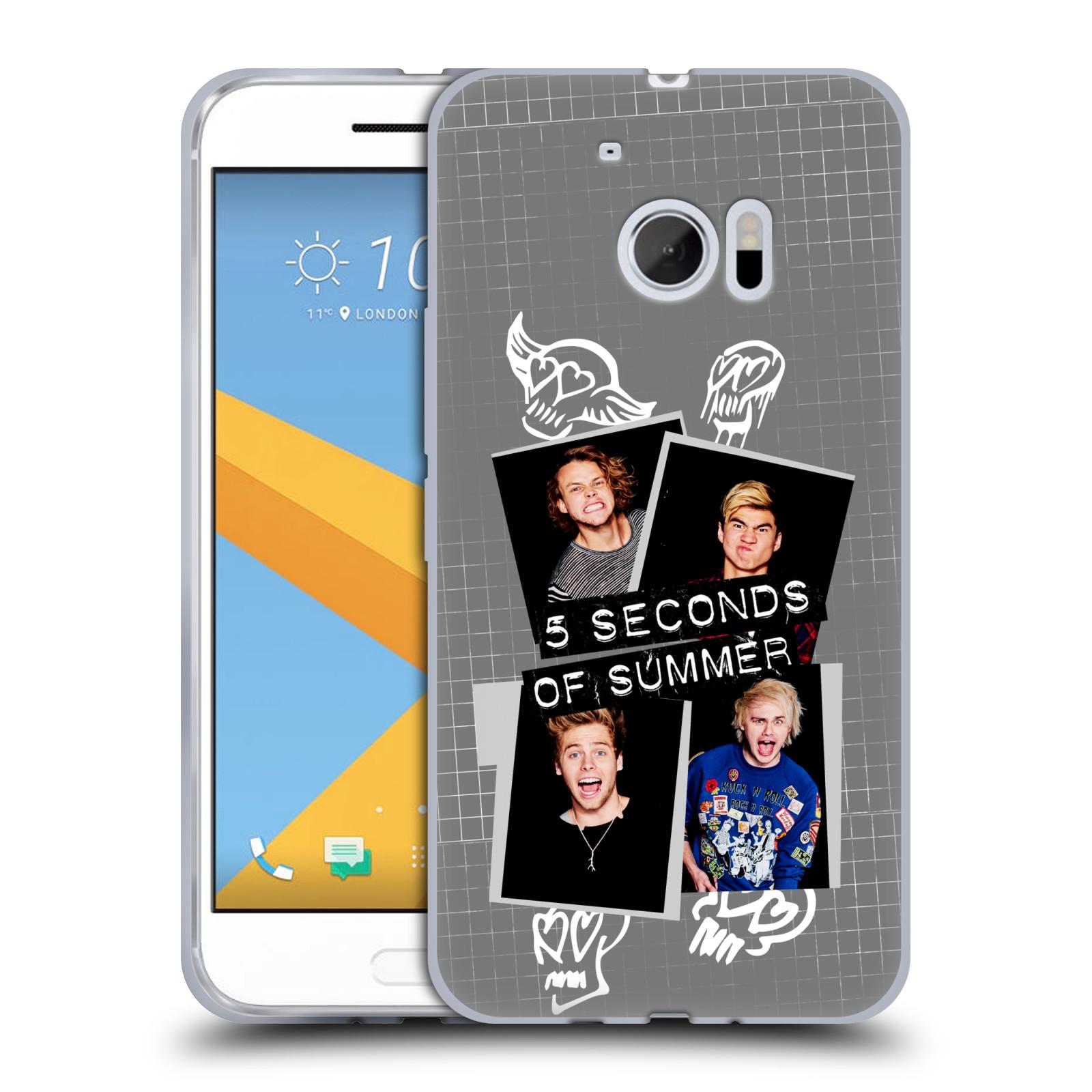 Silikonové pouzdro na mobil HTC 10 HEAD CASE 5 Seconds of Summer - Band Grey (Silikonový kryt či obal na mobilní telefon licencovaným motivem 5 Seconds of Summer pro HTC 10 (HTC One M10))