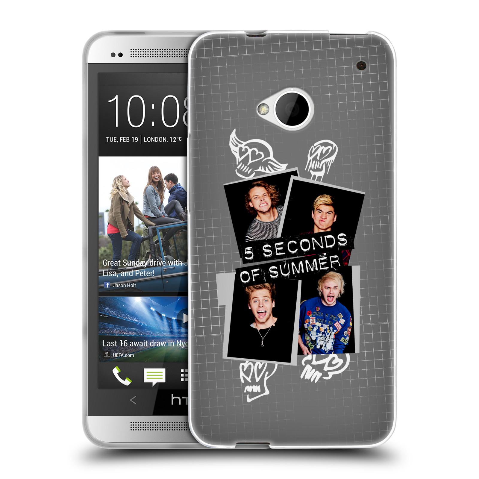 Silikonové pouzdro na mobil HTC ONE M7 HEAD CASE 5 Seconds of Summer - Band Grey (Silikonový kryt či obal na mobilní telefon licencovaným motivem 5 Seconds of Summer pro HTC ONE M7)