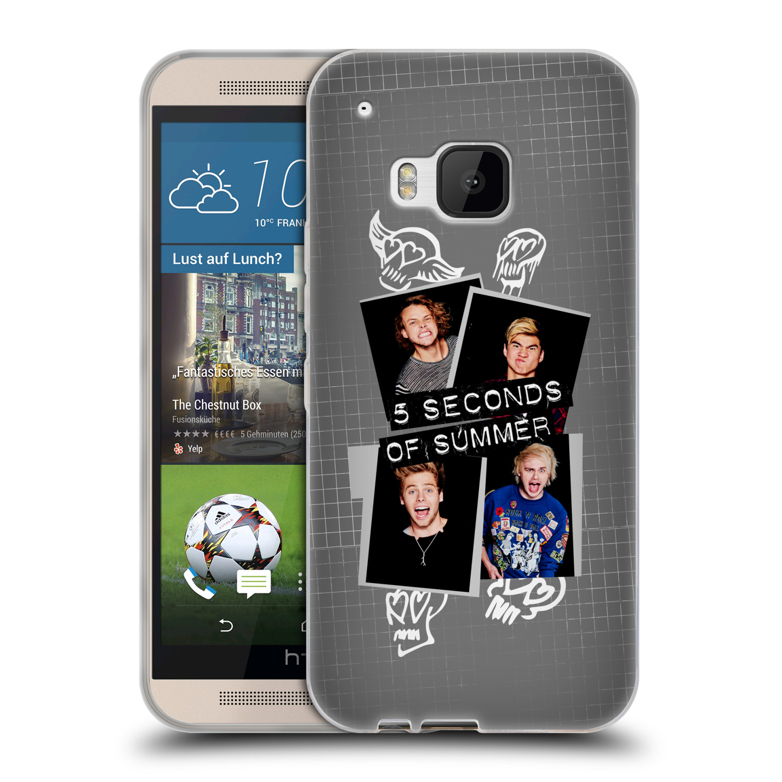 Silikonové pouzdro na mobil HTC ONE M9 HEAD CASE 5 Seconds of Summer - Band Grey (Silikonový kryt či obal na mobilní telefon licencovaným motivem 5 Seconds of Summer pro HTC ONE M9)