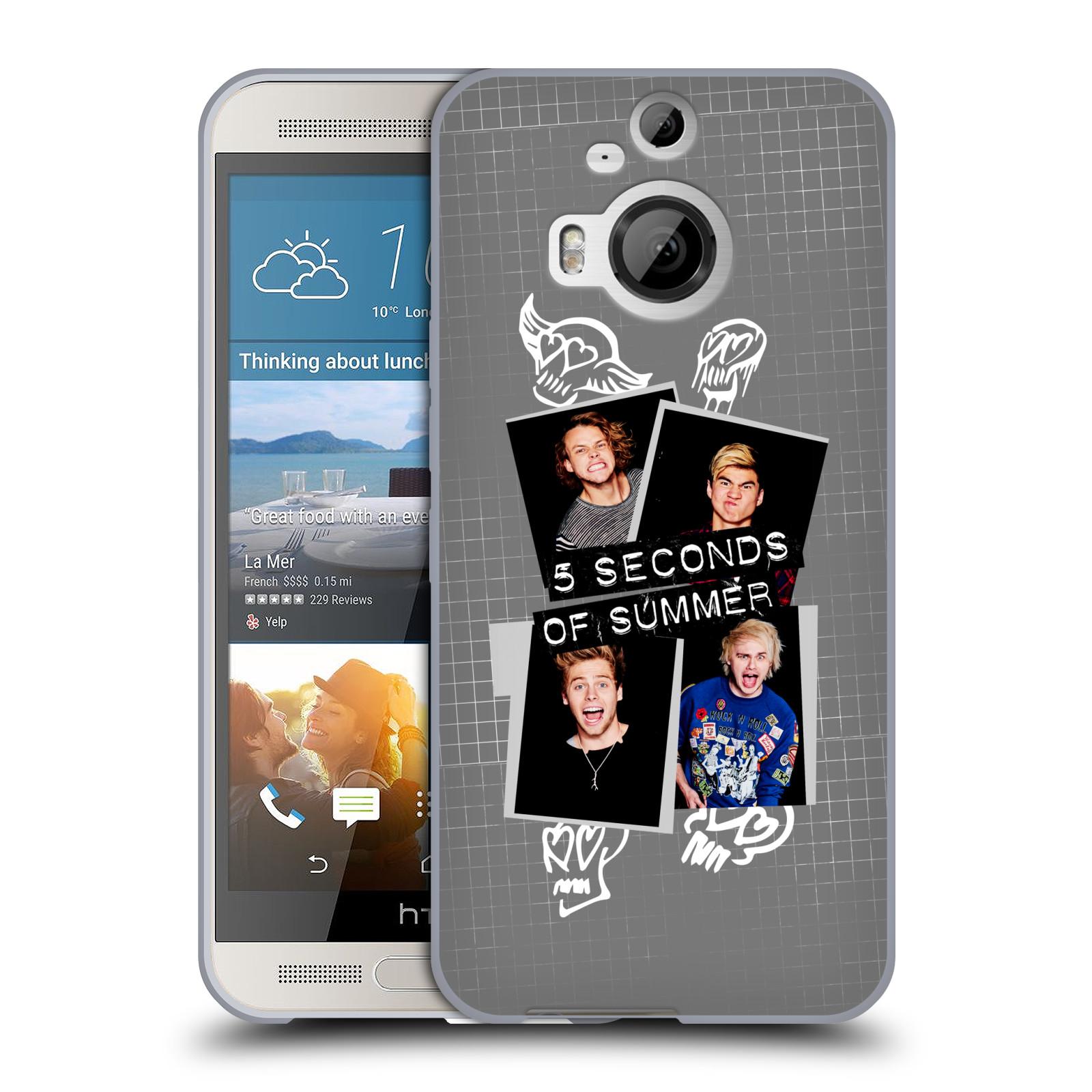Silikonové pouzdro na mobil HTC One M9+ (Plus) HEAD CASE 5 Seconds of Summer - Band Grey (Silikonový kryt či obal na mobilní telefon licencovaným motivem 5 Seconds of Summer pro HTC One M9+)