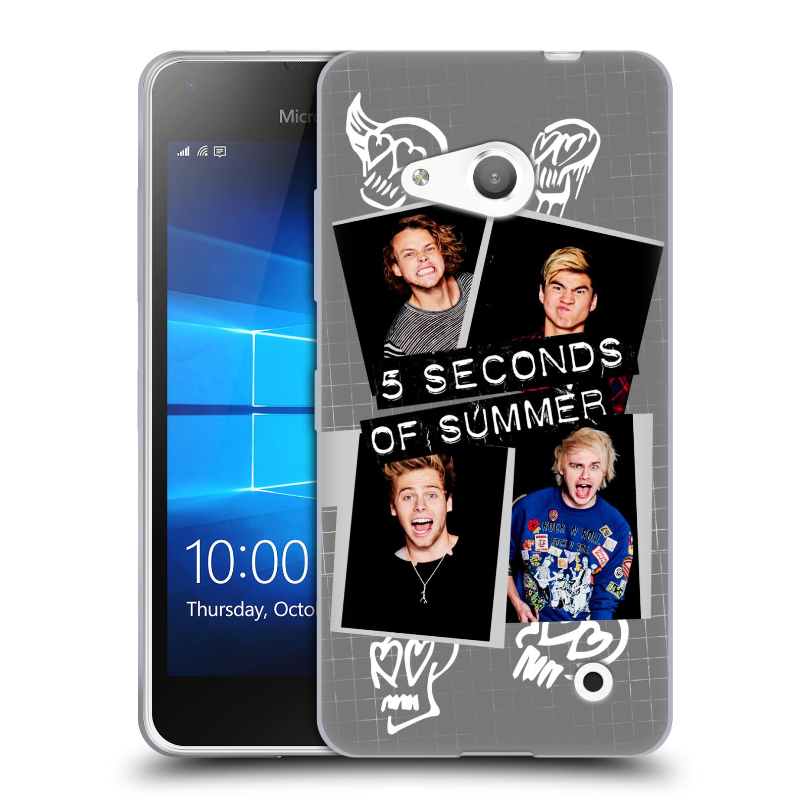 Silikonové pouzdro na mobil Microsoft Lumia 550 HEAD CASE 5 Seconds of Summer - Band Grey (Silikonový kryt či obal na mobilní telefon licencovaným motivem 5 Seconds of Summer pro Microsoft Lumia 550)