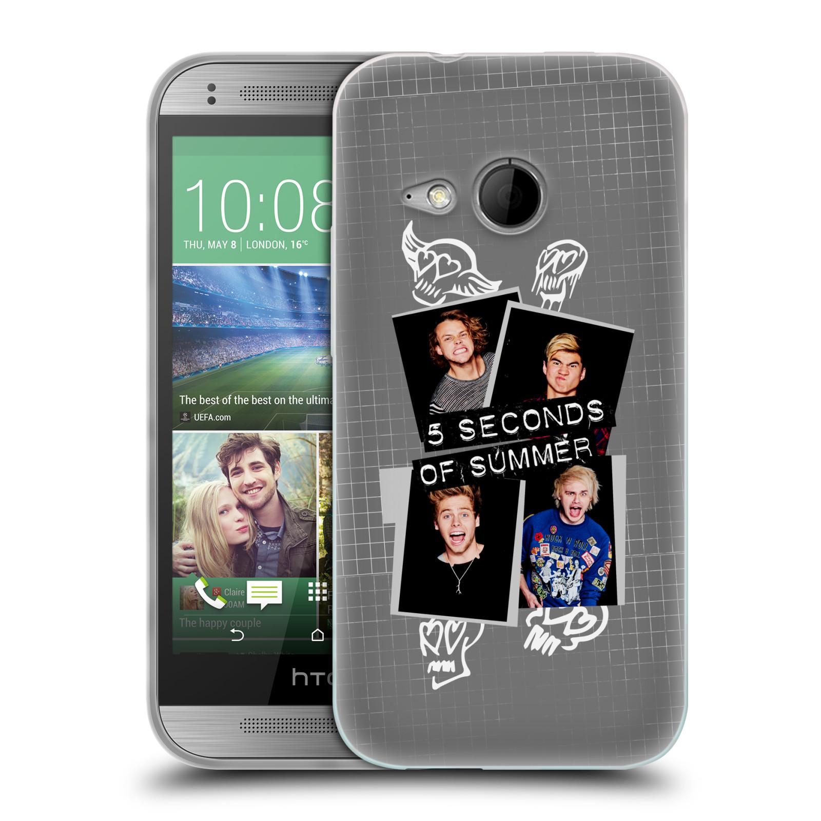 Silikonové pouzdro na mobil HTC ONE Mini 2 HEAD CASE 5 Seconds of Summer - Band Grey (Silikonový kryt či obal na mobilní telefon licencovaným motivem 5 Seconds of Summer pro HTC ONE Mini 2)