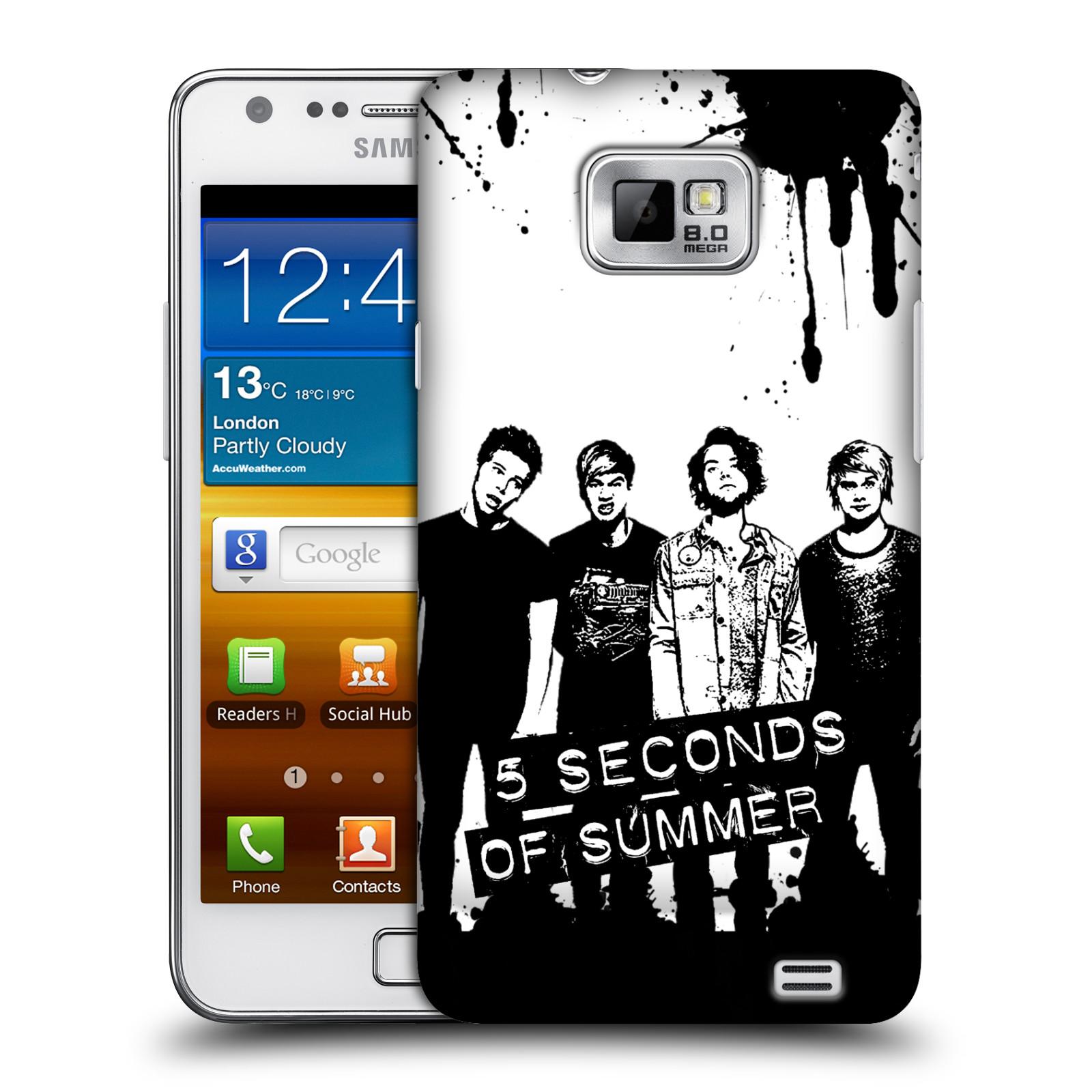 Plastové pouzdro na mobil Samsung Galaxy S II HEAD CASE 5 Seconds of Summer - Band Black and White (Plastový kryt či obal na mobilní telefon licencovaným motivem 5 Seconds of Summer pro Samsung Galaxy S II GT-i9100)