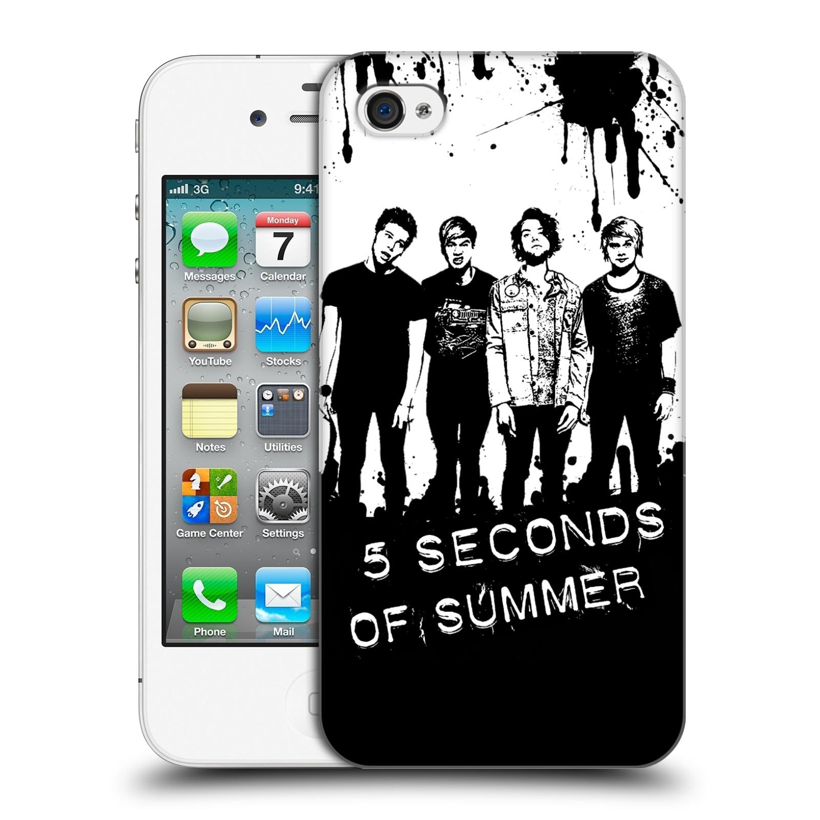 Plastové pouzdro na mobil Apple iPhone 4 a 4S HEAD CASE 5 Seconds of Summer - Band Black and White (Plastový kryt či obal na mobilní telefon licencovaným motivem 5 Seconds of Summer pro Apple iPhone 4 a 4S)
