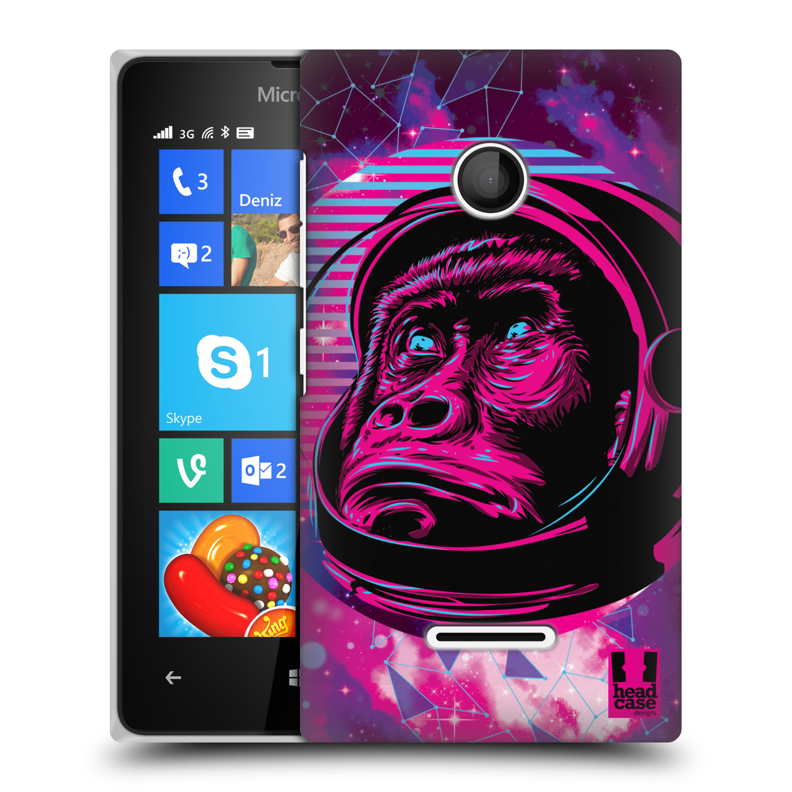 Plastové pouzdro na mobil Microsoft Lumia 435 Head Case - Gorila ve skafandru