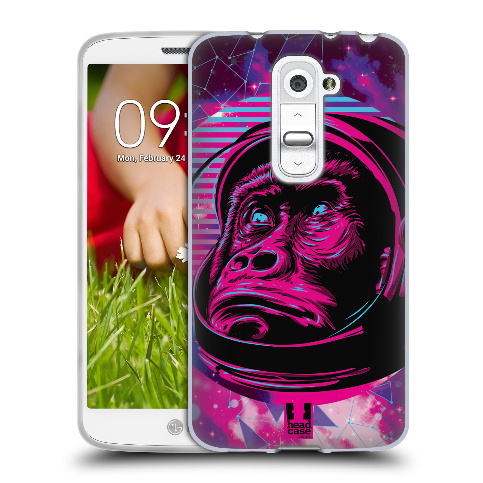 Silikonové pouzdro na mobil LG G2 Mini Head Case - Gorila ve skafandru (Silikonový kryt či obal na mobilní telefon s motivem z osmdesátek pro LG G2 Mini D620)