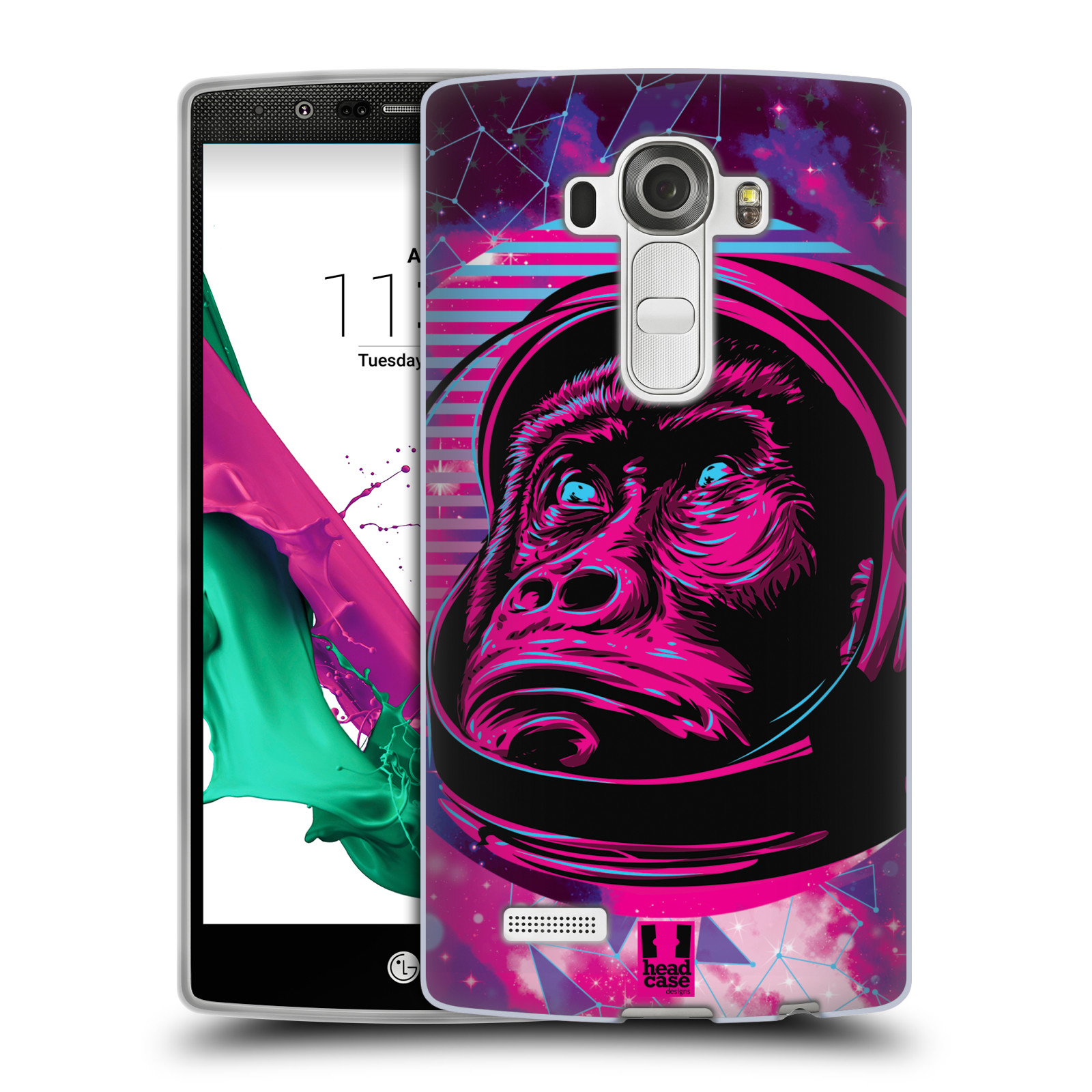 Silikonové pouzdro na mobil LG G4 Head Case - Gorila ve skafandru