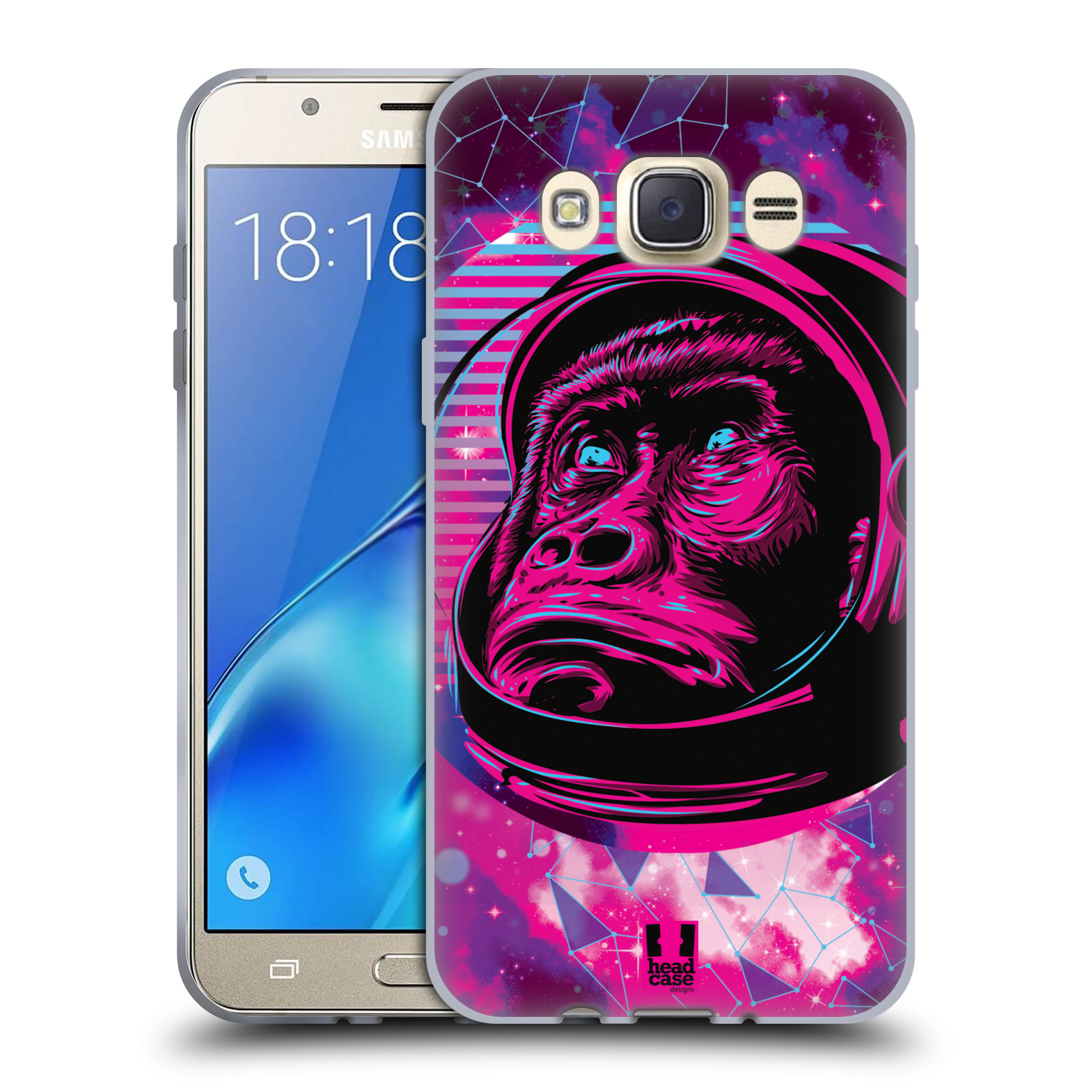 Silikonové pouzdro na mobil Samsung Galaxy J7 (2016) Head Case - Gorila ve skafandru