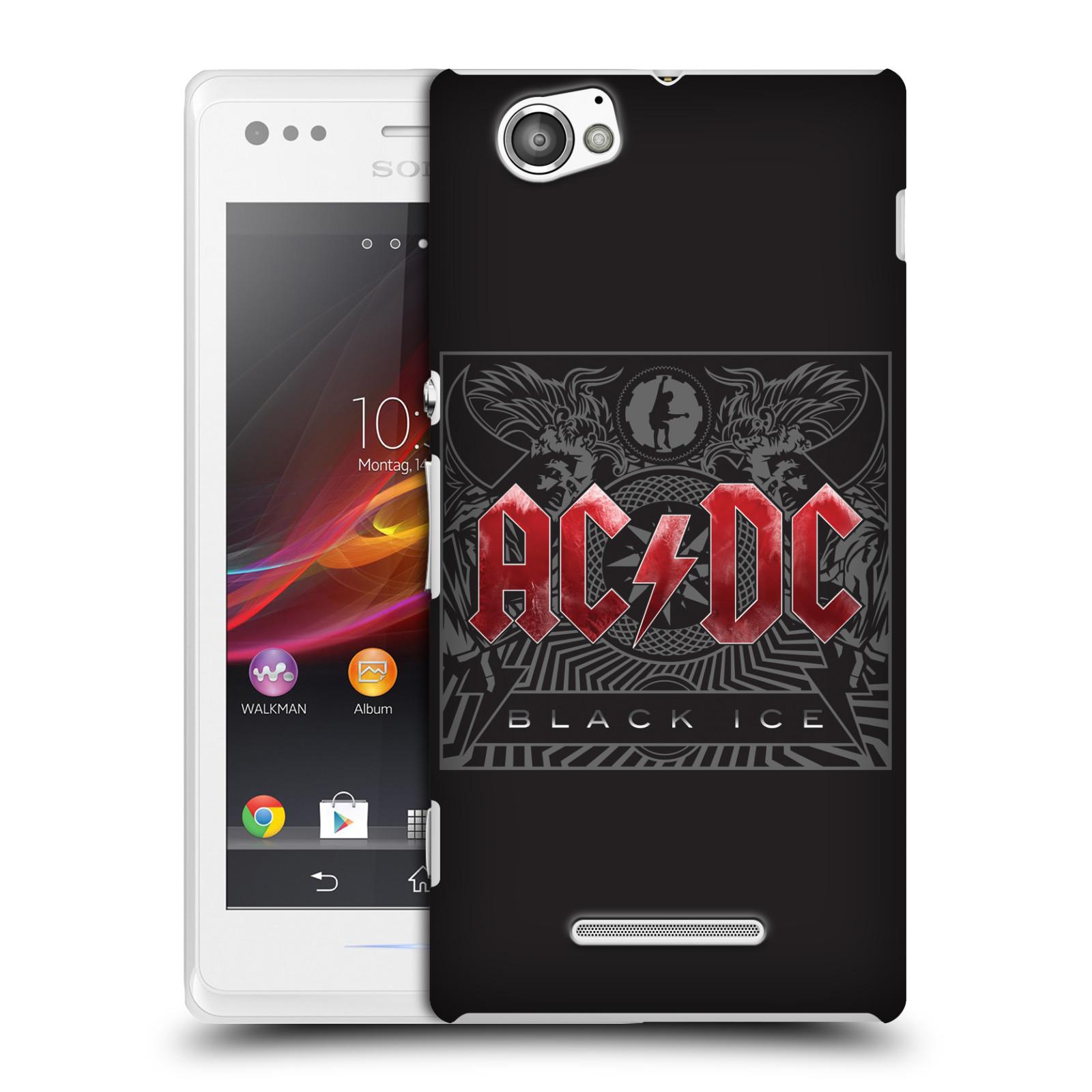 Plastové pouzdro na mobil Sony Xperia M C1905 HEAD CASE AC/DC Black Ice (Plastový kryt či obal na mobilní telefon s oficiálním motivem australské skupiny AC/DC pro Sony Xperia M )