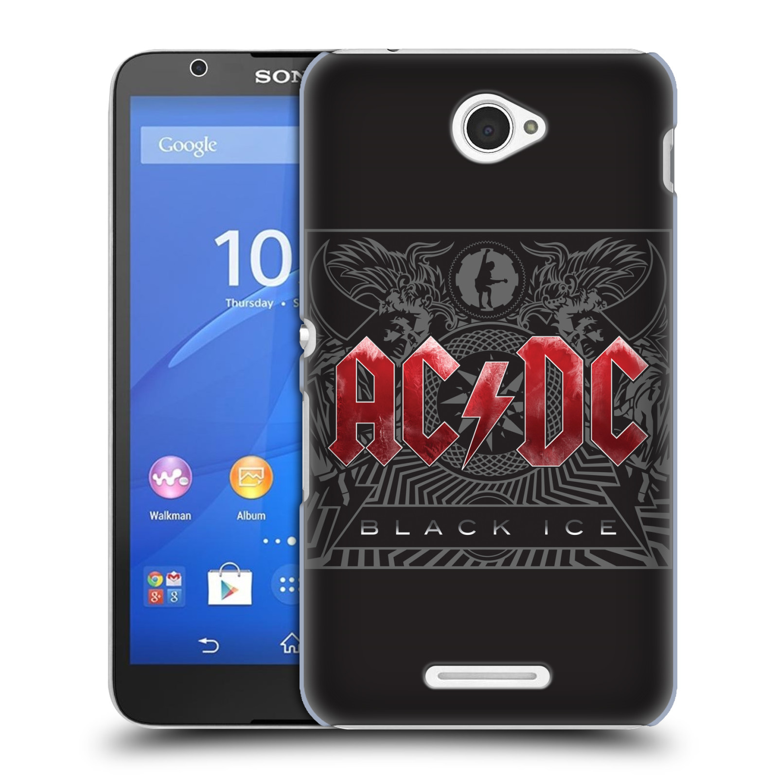 Plastové pouzdro na mobil Sony Xperia E4 E2105 HEAD CASE AC/DC Black Ice (Plastový kryt či obal na mobilní telefon s oficiálním motivem australské skupiny AC/DC pro Sony Xperia E4 a E4 Dual SIM)