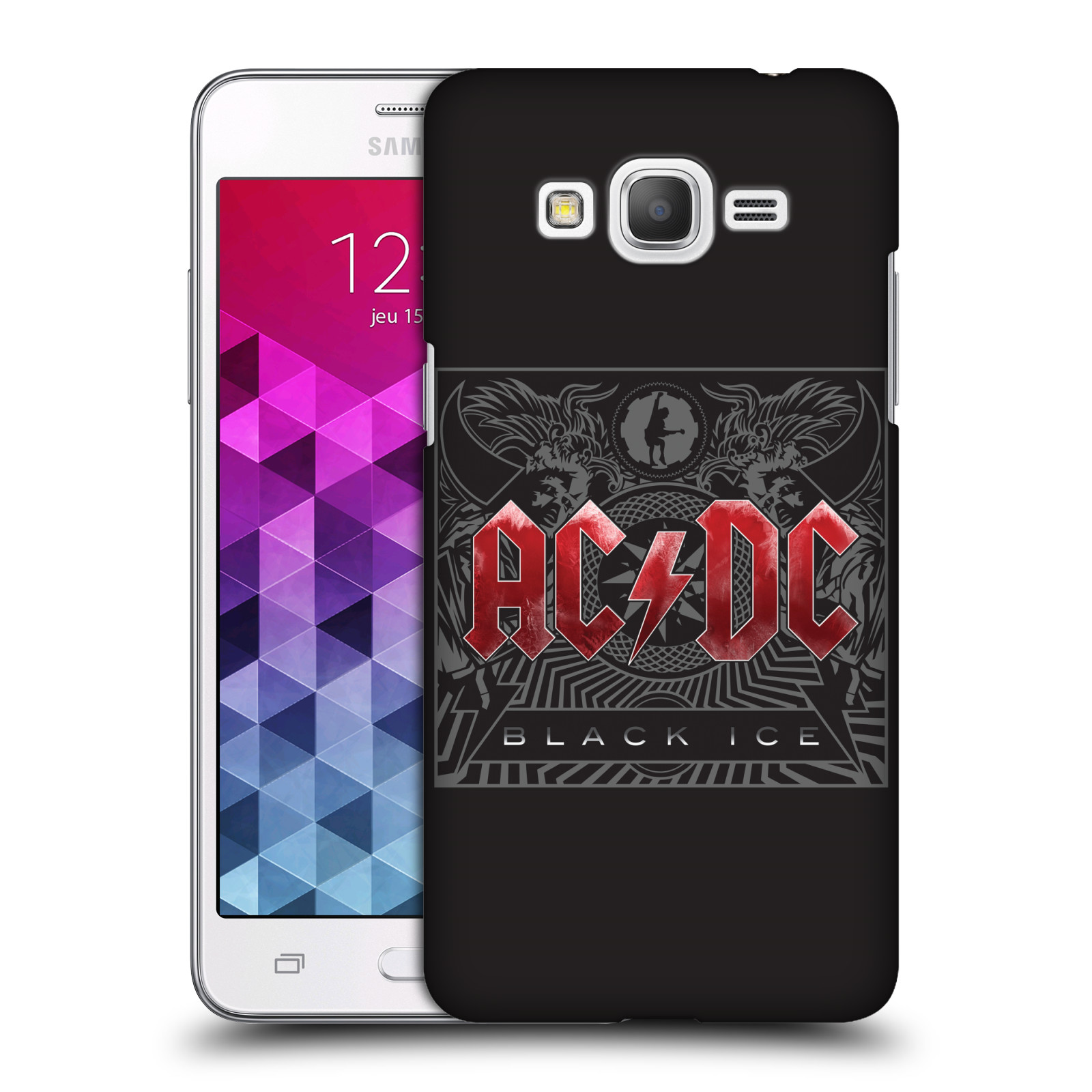 Plastové pouzdro na mobil Samsung Galaxy Grand Prime VE HEAD CASE AC/DC Black Ice (Plastový kryt či obal na mobilní telefon s oficiálním motivem australské skupiny AC/DC pro Samsung Galaxy Grand Prime VE SM-G531F)