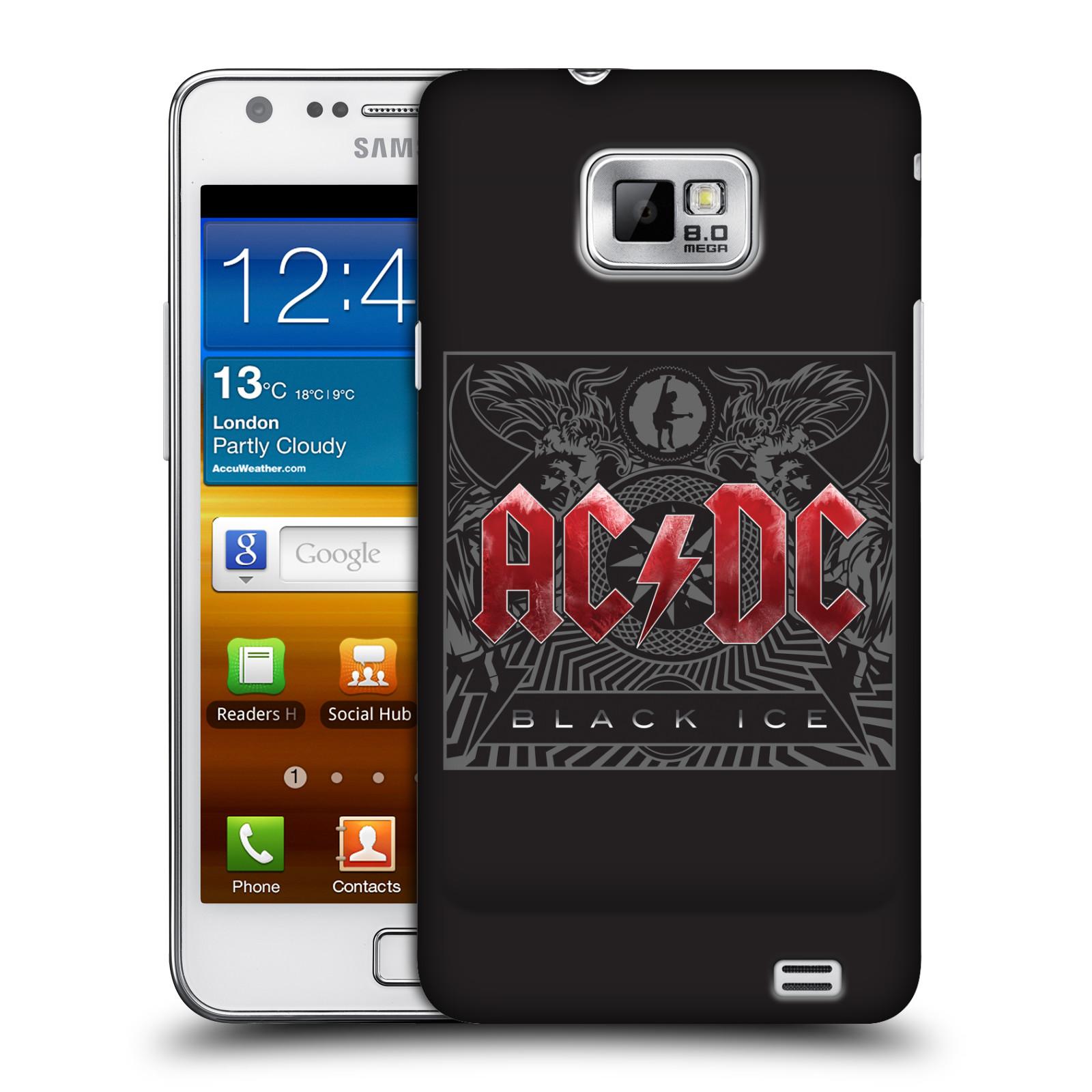 Plastové pouzdro na mobil Samsung Galaxy S II HEAD CASE AC/DC Black Ice (Plastový kryt či obal na mobilní telefon s oficiálním motivem australské skupiny AC/DC pro Samsung Galaxy S II GT-i9100)