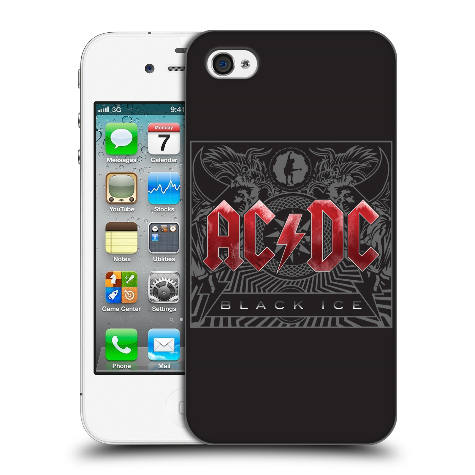 Plastové pouzdro na mobil Apple iPhone 4 a 4S HEAD CASE AC/DC Black Ice