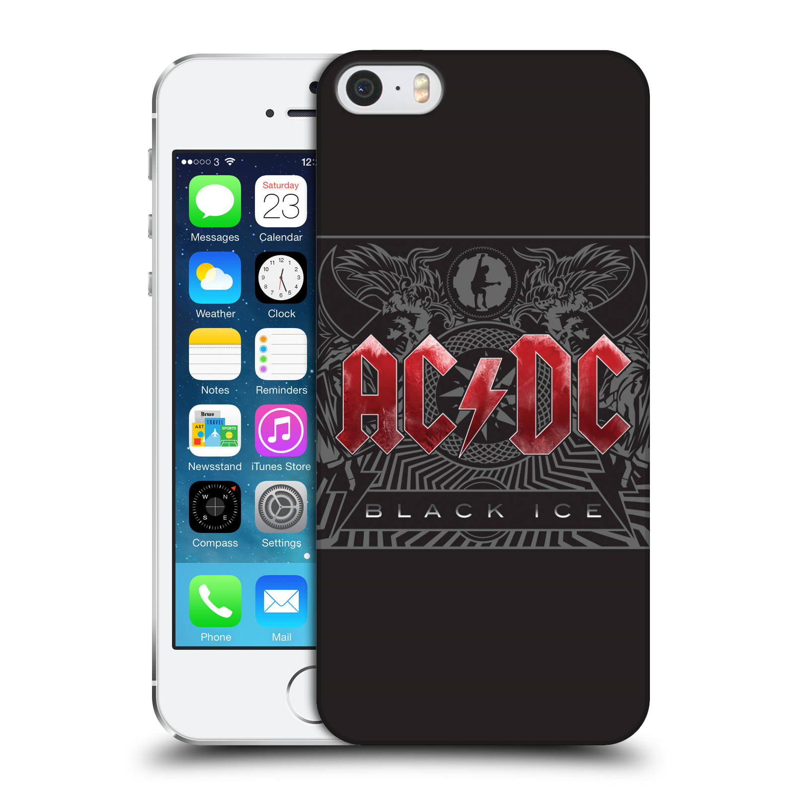 Plastové pouzdro na mobil Apple iPhone SE, 5 a 5S HEAD CASE AC/DC Black Ice