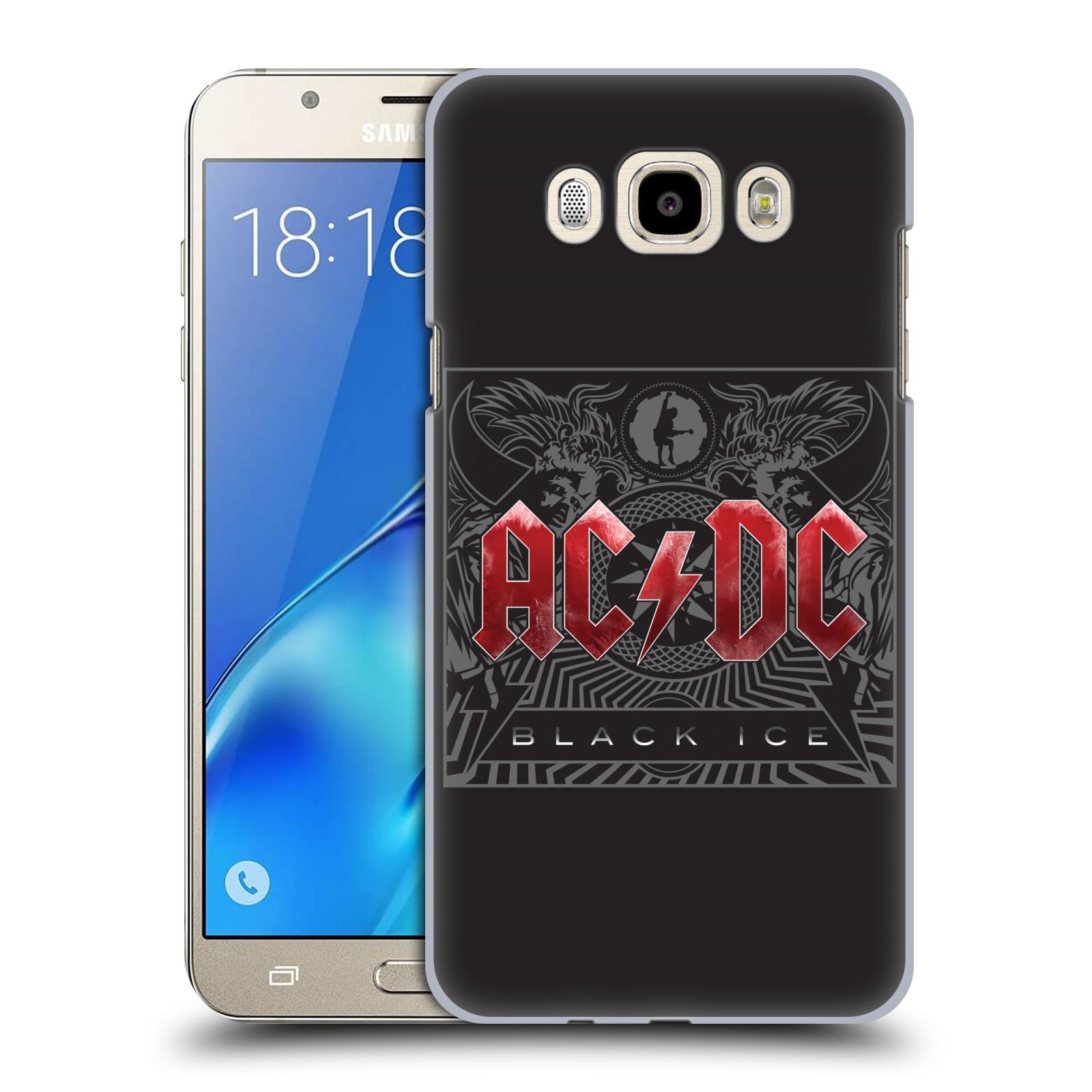 Plastové pouzdro na mobil Samsung Galaxy J7 (2016) HEAD CASE AC/DC Black Ice (Plastový kryt či obal na mobilní telefon s oficiálním motivem australské skupiny AC/DC pro Samsung Galaxy J7 (2016) SM-J710F)