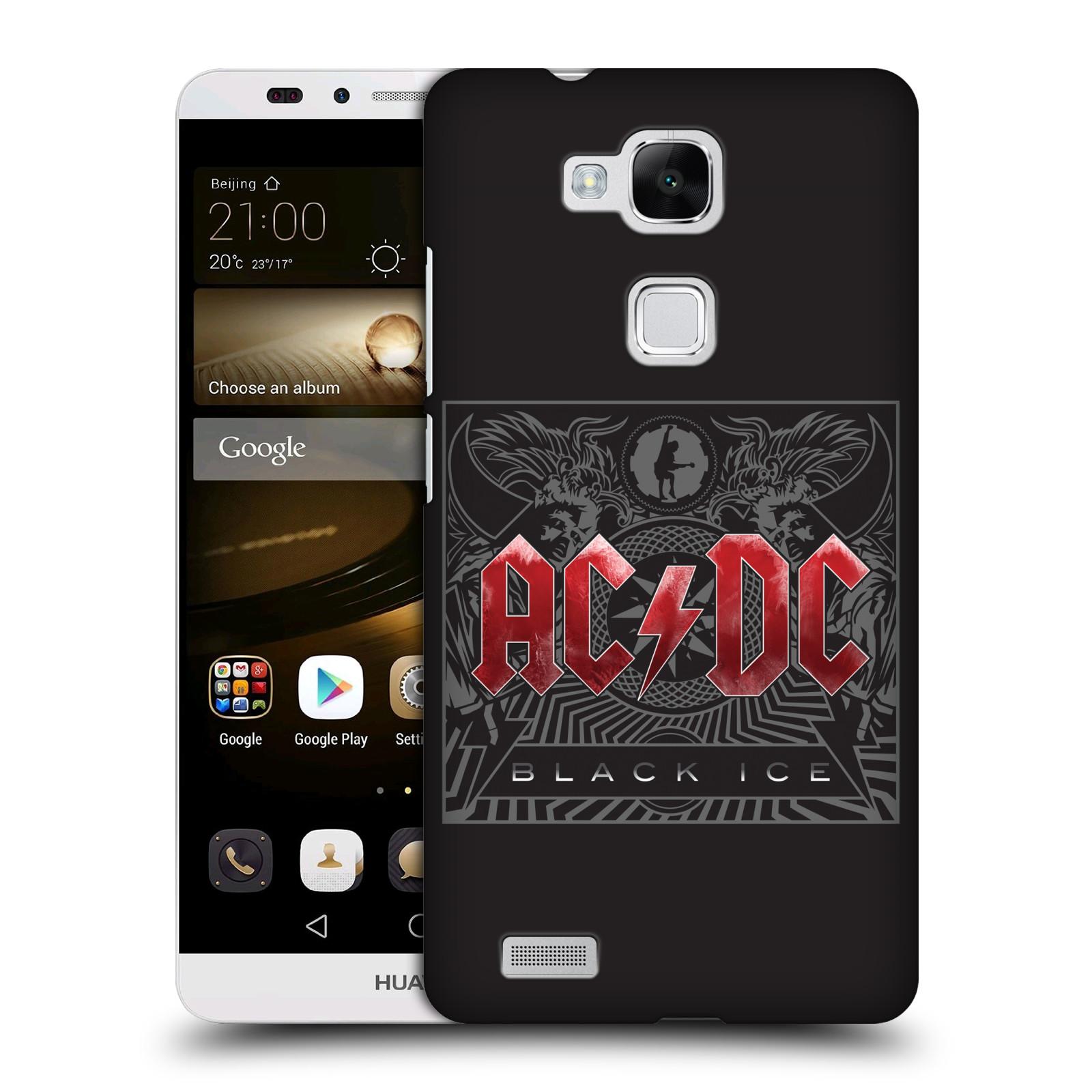 Plastové pouzdro na mobil Huawei Ascend Mate 7 HEAD CASE AC/DC Black Ice (Plastový kryt či obal na mobilní telefon s oficiálním motivem australské skupiny AC/DC pro Huawei Ascend Mate7)