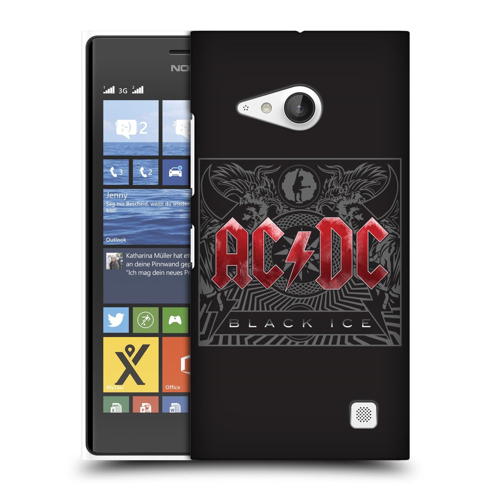 Plastové pouzdro na mobil Nokia Lumia 735 HEAD CASE AC/DC Black Ice (Plastový kryt či obal na mobilní telefon s oficiálním motivem australské skupiny AC/DC pro Nokia Lumia 735)