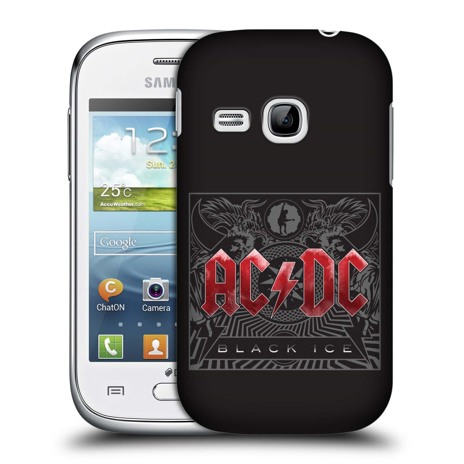 Plastové pouzdro na mobil Samsung Galaxy Young HEAD CASE AC/DC Black Ice (Plastový kryt či obal na mobilní telefon s oficiálním motivem australské skupiny AC/DC pro Samsung Galaxy Young GT-S6310)