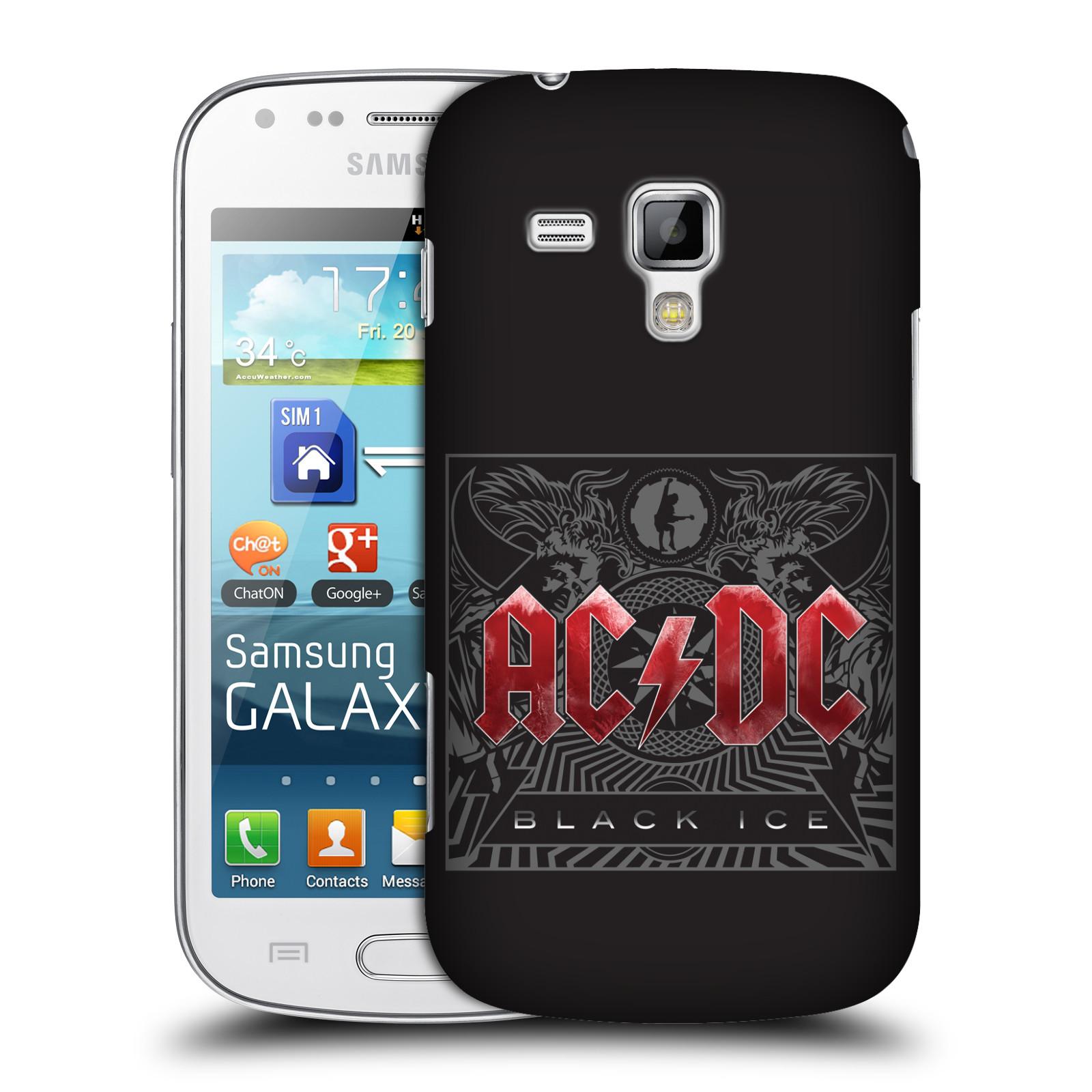 Plastové pouzdro na mobil Samsung Galaxy S Duos HEAD CASE AC/DC Black Ice (Plastový kryt či obal na mobilní telefon s oficiálním motivem australské skupiny AC/DC pro Samsung Galaxy S Duos GT-S7562)