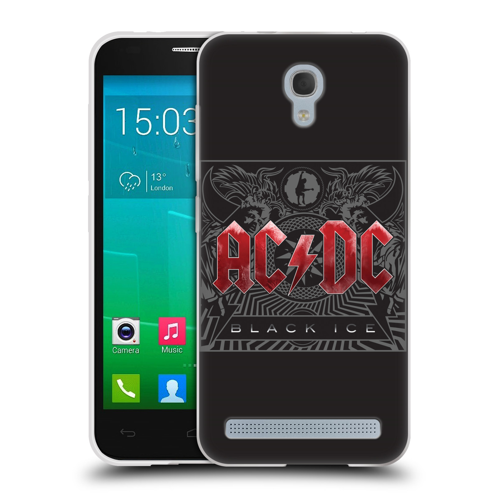 Silikonové pouzdro na mobil Alcatel One Touch Idol 2 Mini S 6036Y HEAD CASE AC/DC Black Ice