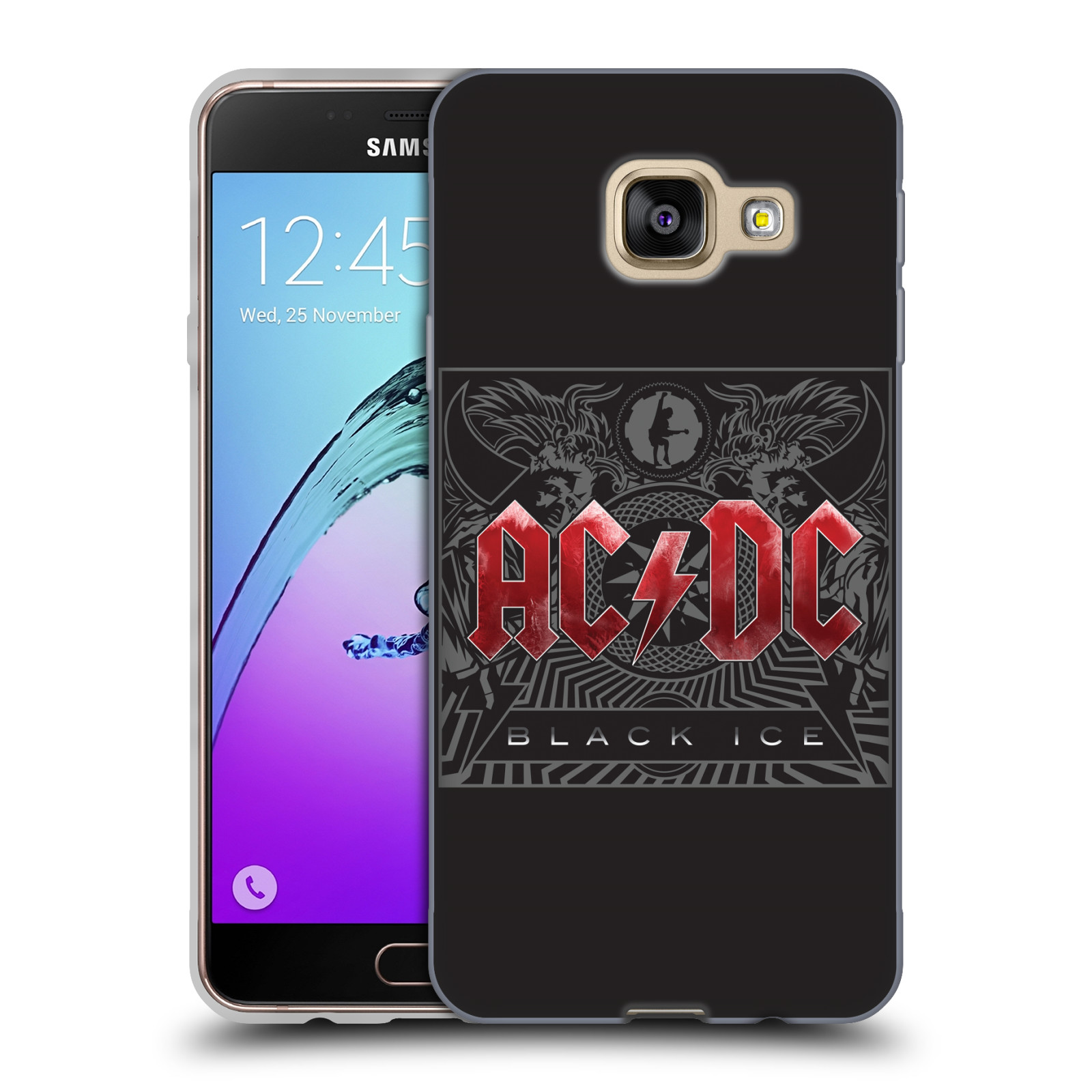 Silikonové pouzdro na mobil Samsung Galaxy A3 (2016) HEAD CASE AC/DC Black Ice (Silikonový kryt či obal na mobilní telefon s oficiálním motivem australské skupiny AC/DC pro Samsung Galaxy A3 (2016) SM-A310F)