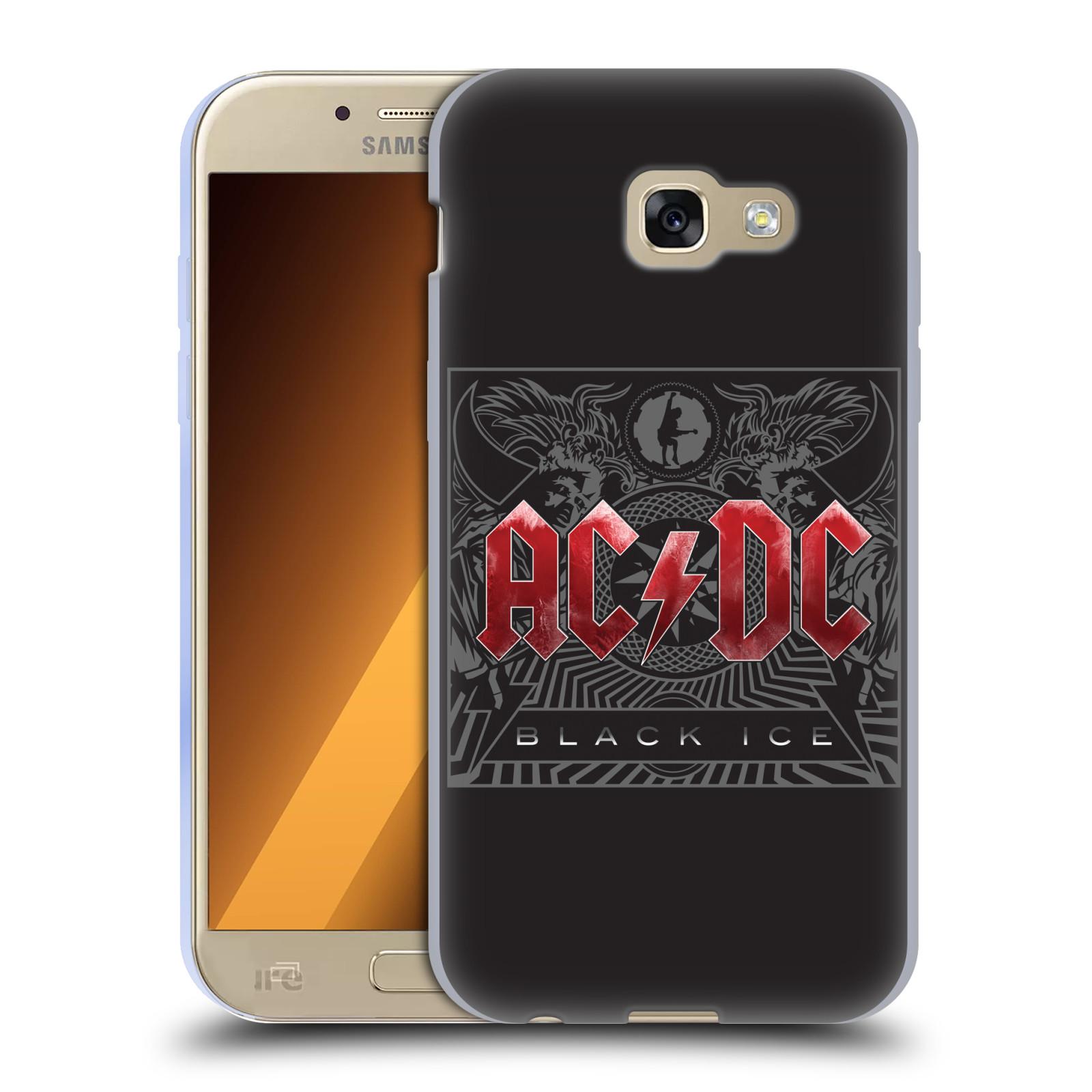 Silikonové pouzdro na mobil Samsung Galaxy A5 (2017) HEAD CASE AC/DC Black Ice (Silikonový kryt či obal na mobilní telefon s oficiálním motivem australské skupiny AC/DC pro Samsung Galaxy A5 2017 SM-A520)
