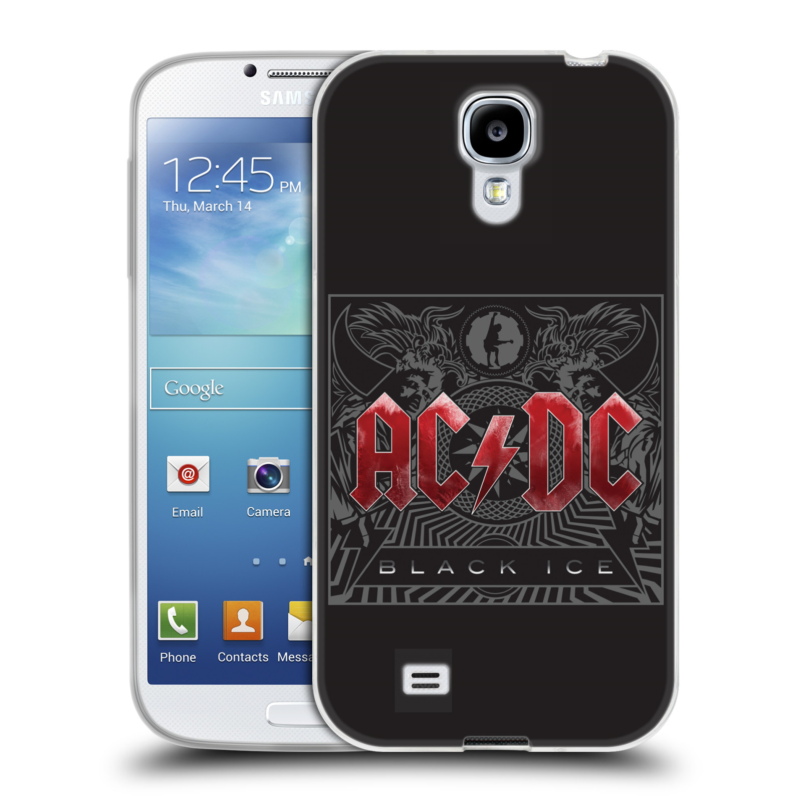 Silikonové pouzdro na mobil Samsung Galaxy S4 HEAD CASE AC/DC Black Ice (Silikonový kryt či obal na mobilní telefon s oficiálním motivem australské skupiny AC/DC pro Samsung Galaxy S4 GT-i9505 / i9500)