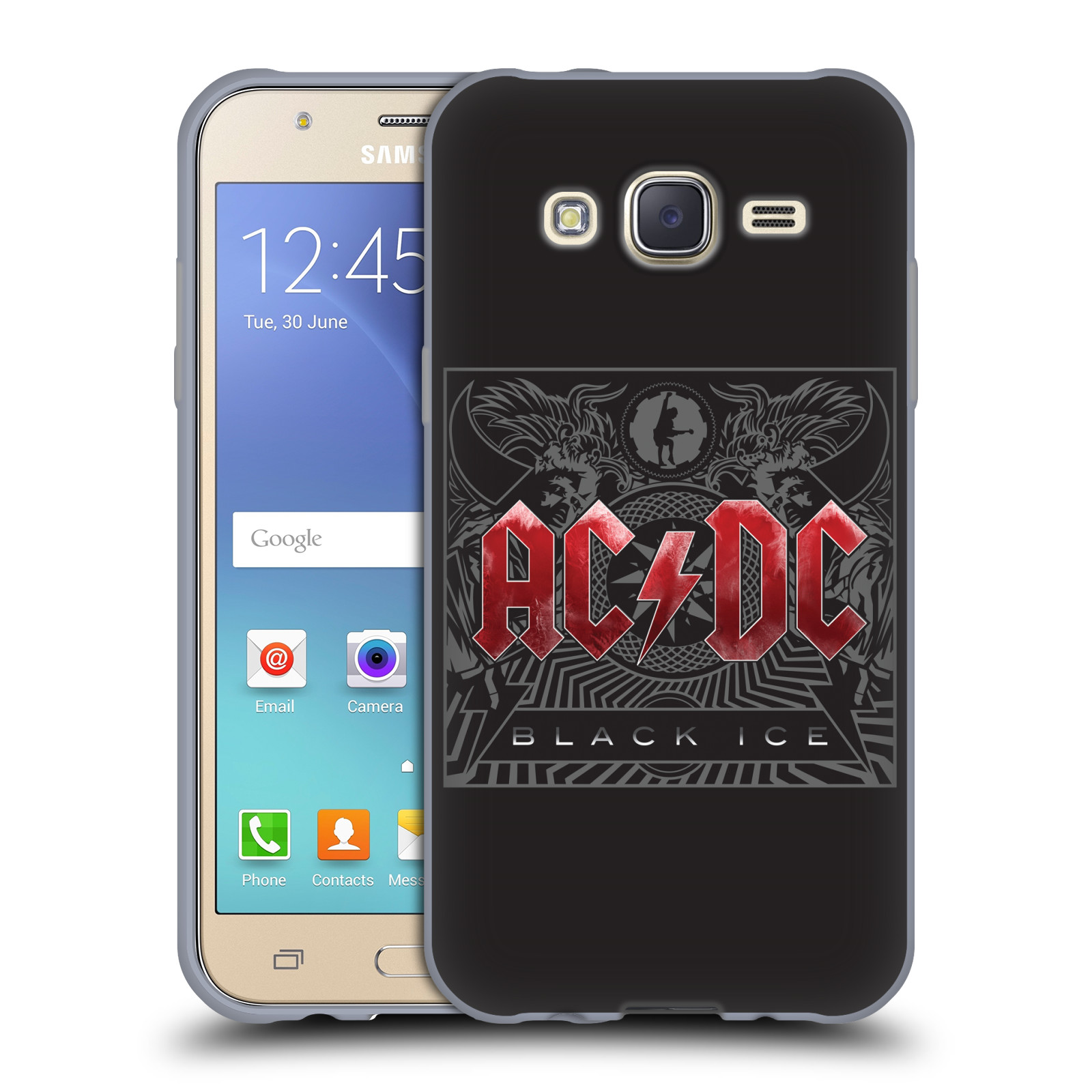 Silikonové pouzdro na mobil Samsung Galaxy J5 HEAD CASE AC/DC Black Ice (Silikonový kryt či obal na mobilní telefon s oficiálním motivem australské skupiny AC/DC pro Samsung Galaxy Samsung Galaxy J5 SM-J500)