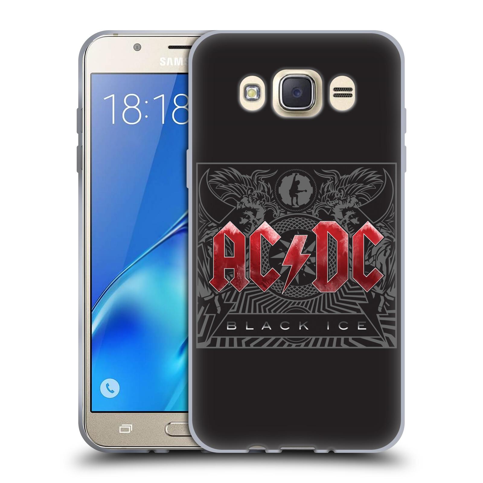Silikonové pouzdro na mobil Samsung Galaxy J7 (2016) HEAD CASE AC/DC Black Ice (Silikonový kryt či obal na mobilní telefon s oficiálním motivem australské skupiny AC/DC pro Samsung Galaxy J7 (2016) SM-J710)