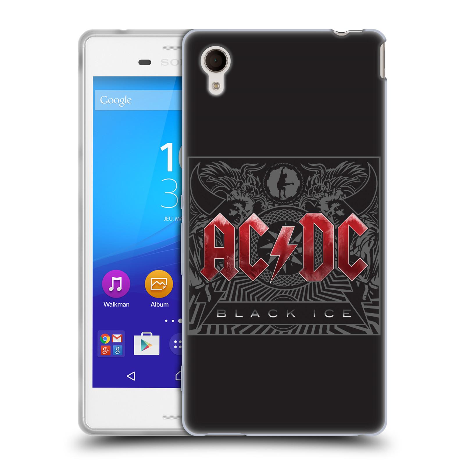 Silikonové pouzdro na mobil Sony Xperia M4 Aqua E2303 HEAD CASE AC/DC Black Ice (Silikonový kryt či obal na mobilní telefon s oficiálním motivem australské skupiny AC/DC pro Sony Xperia M4 Aqua a M4 Aqua Dual SIM)