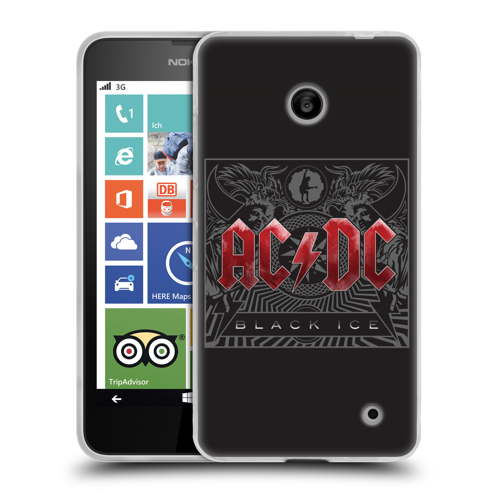Silikonové pouzdro na mobil Nokia Lumia 630 HEAD CASE AC/DC Black Ice (Silikonový kryt či obal na mobilní telefon s oficiálním motivem australské skupiny AC/DC pro Nokia Lumia 630 a Nokia Lumia 630 Dual SIM)
