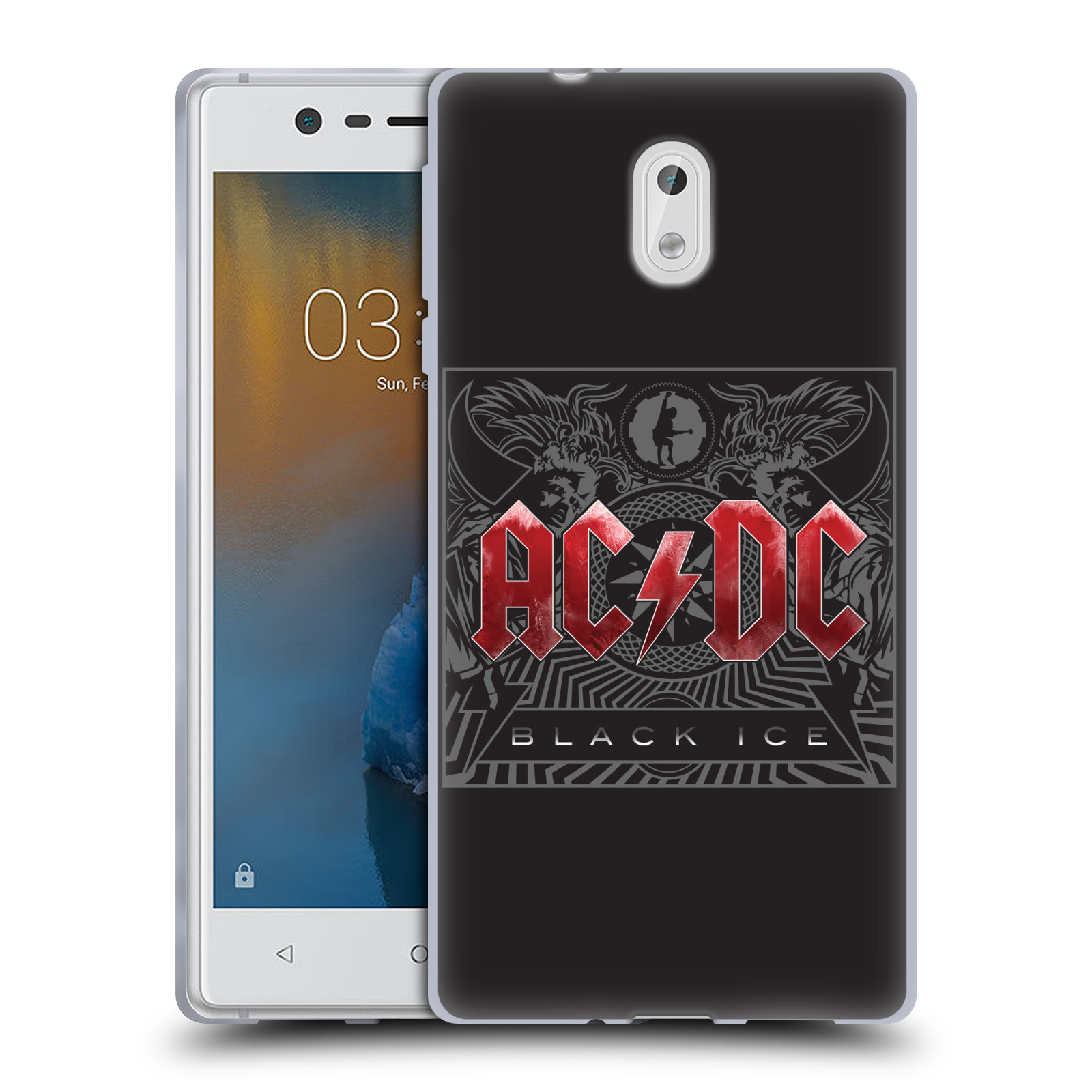 Silikonové pouzdro na mobil Nokia 3 Head Case - AC/DC Black Ice