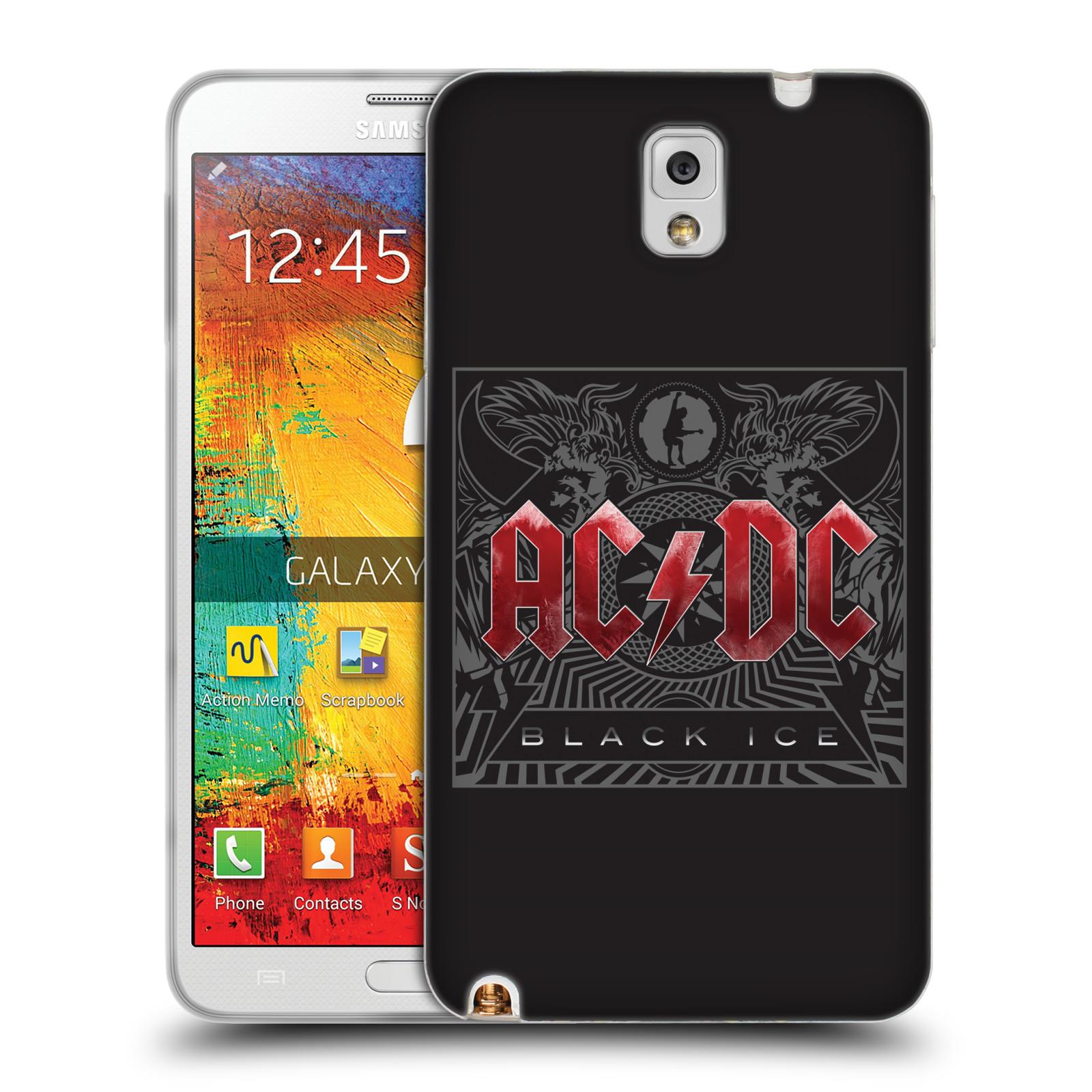 Silikonové pouzdro na mobil Samsung Galaxy Note 3 HEAD CASE AC/DC Black Ice (Silikonový kryt či obal na mobilní telefon s oficiálním motivem australské skupiny AC/DC pro Samsung Galaxy Note 3 SM-N9005)