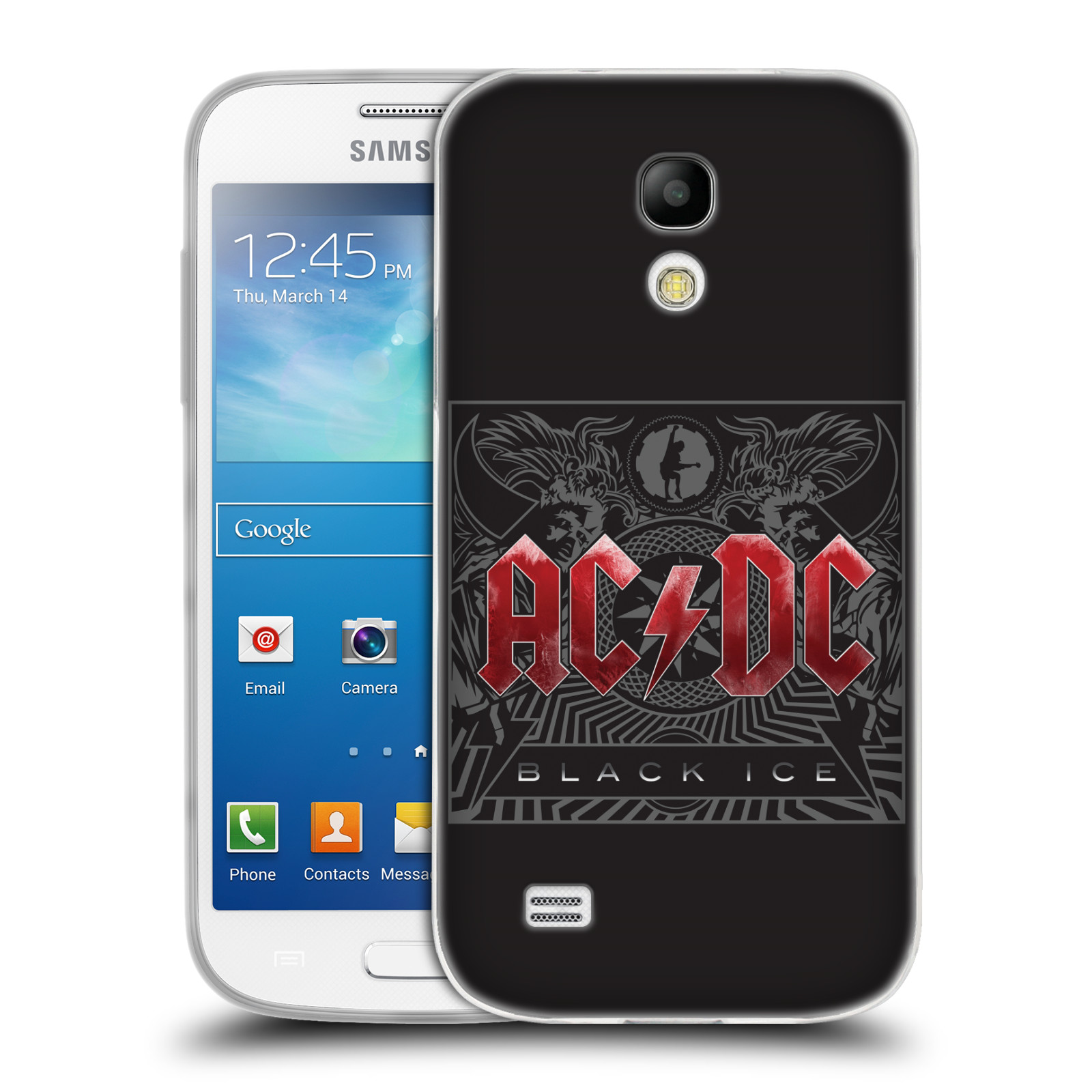 Silikonové pouzdro na mobil Samsung Galaxy S4 Mini HEAD CASE AC/DC Black Ice (Silikonový kryt či obal na mobilní telefon s oficiálním motivem australské skupiny AC/DC pro Samsung Galaxy S4 Mini GT-i9195 / i9190)
