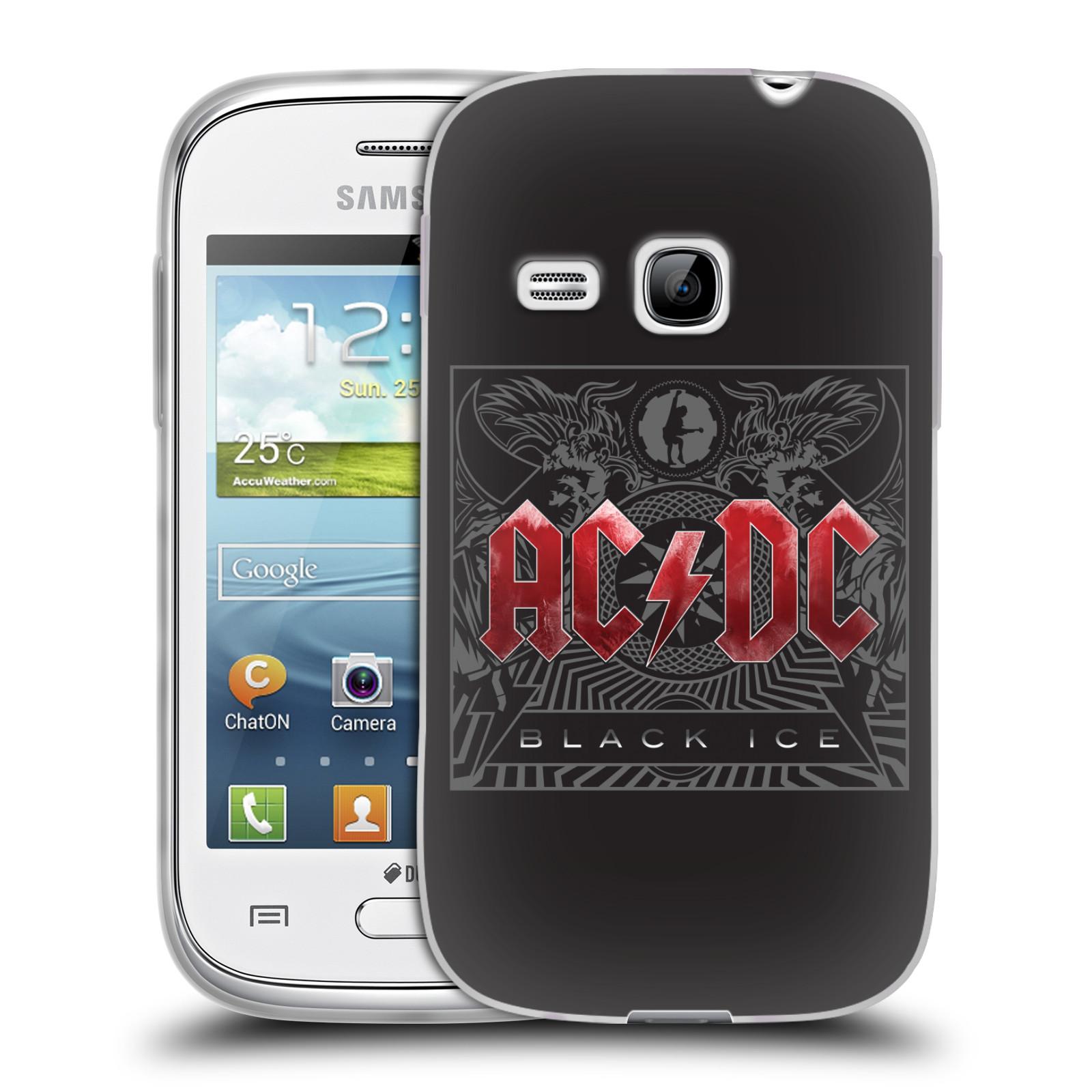 Silikonové pouzdro na mobil Samsung Galaxy Young HEAD CASE AC/DC Black Ice (Silikonový kryt či obal na mobilní telefon s oficiálním motivem australské skupiny AC/DC pro Samsung Galaxy Young GT-S6310)