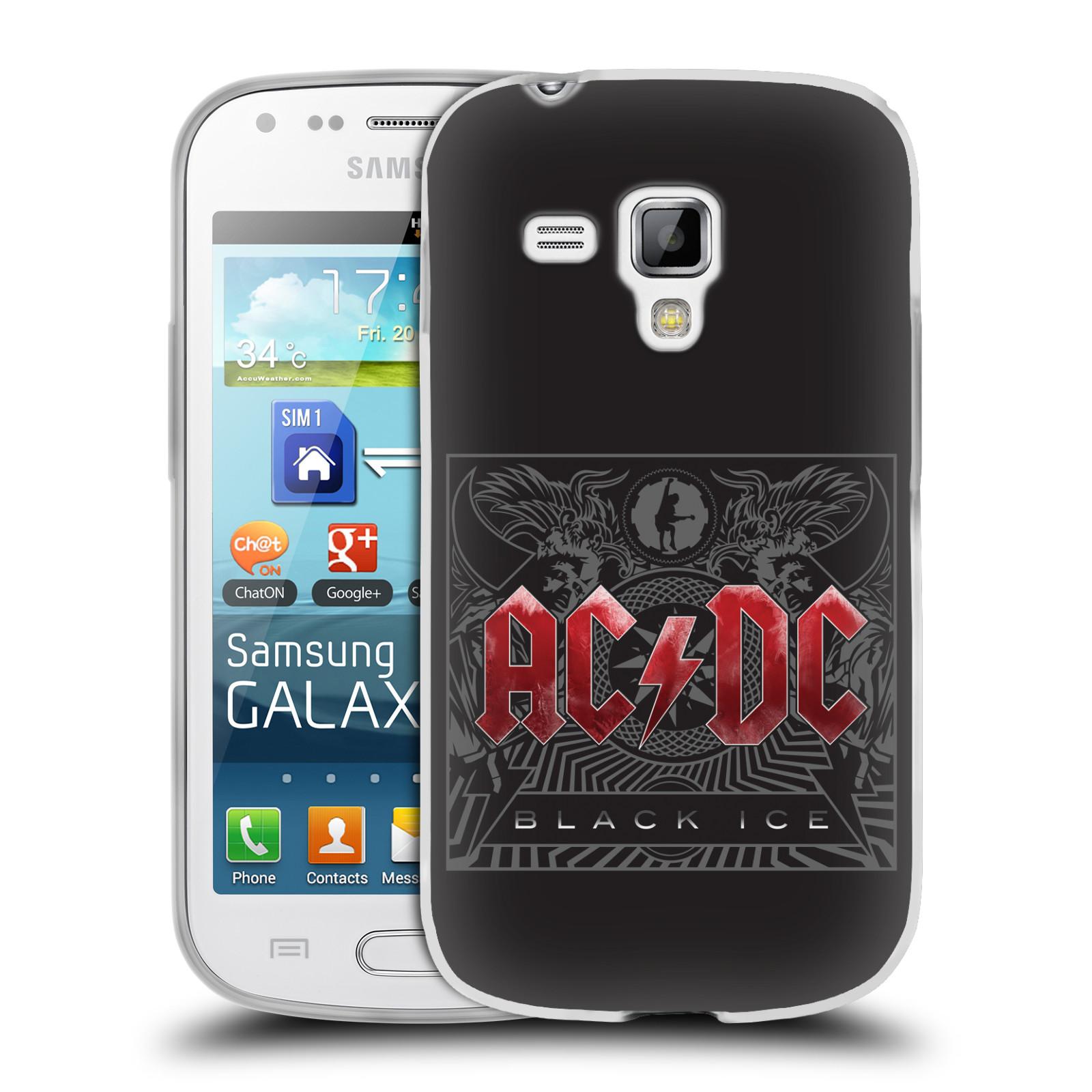 Silikonové pouzdro na mobil Samsung Galaxy S Duos HEAD CASE AC/DC Black Ice (Silikonový kryt či obal na mobilní telefon s oficiálním motivem australské skupiny AC/DC pro Samsung Galaxy S Duos GT-S7562)